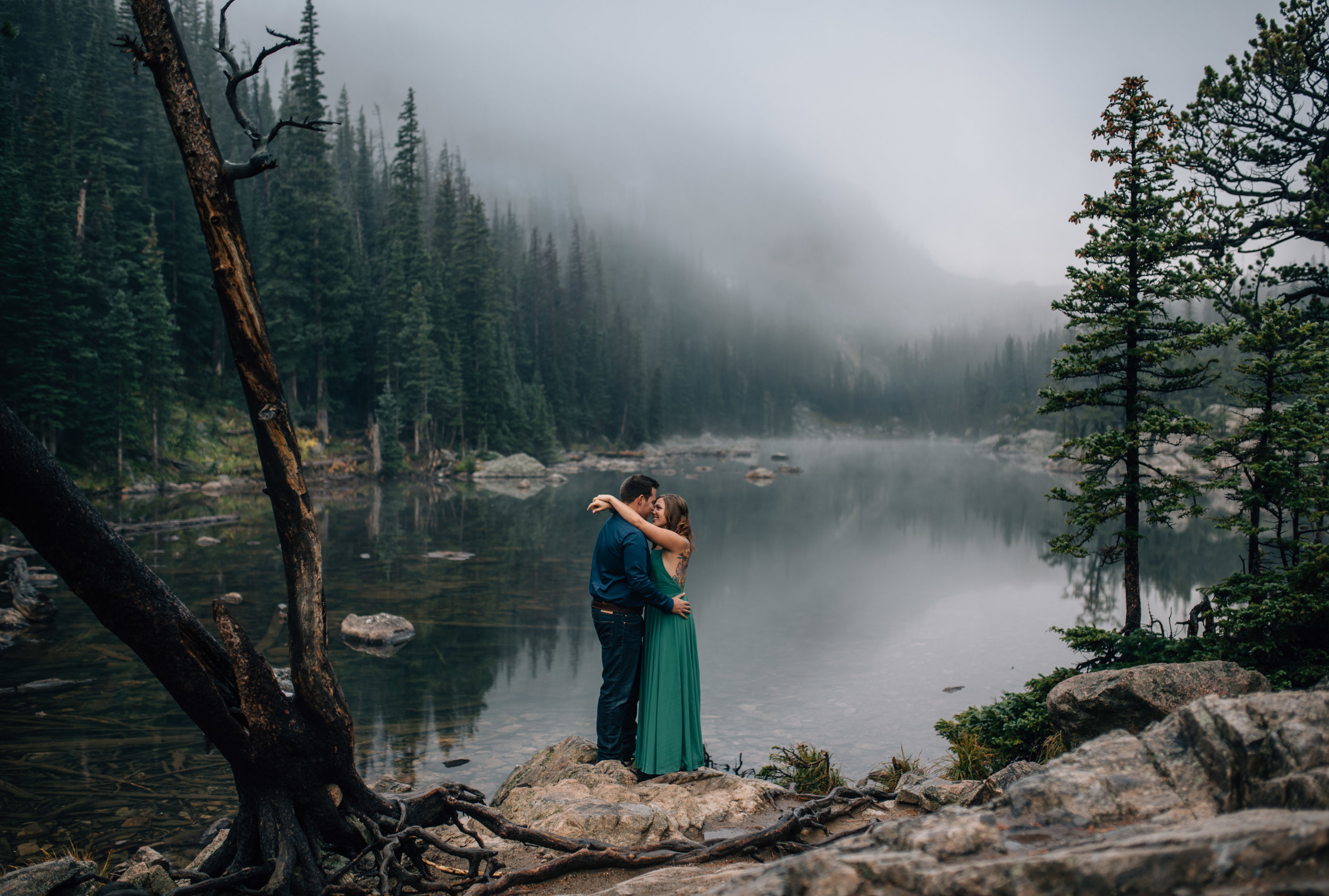 Dream Lake in RMNP engagement session.