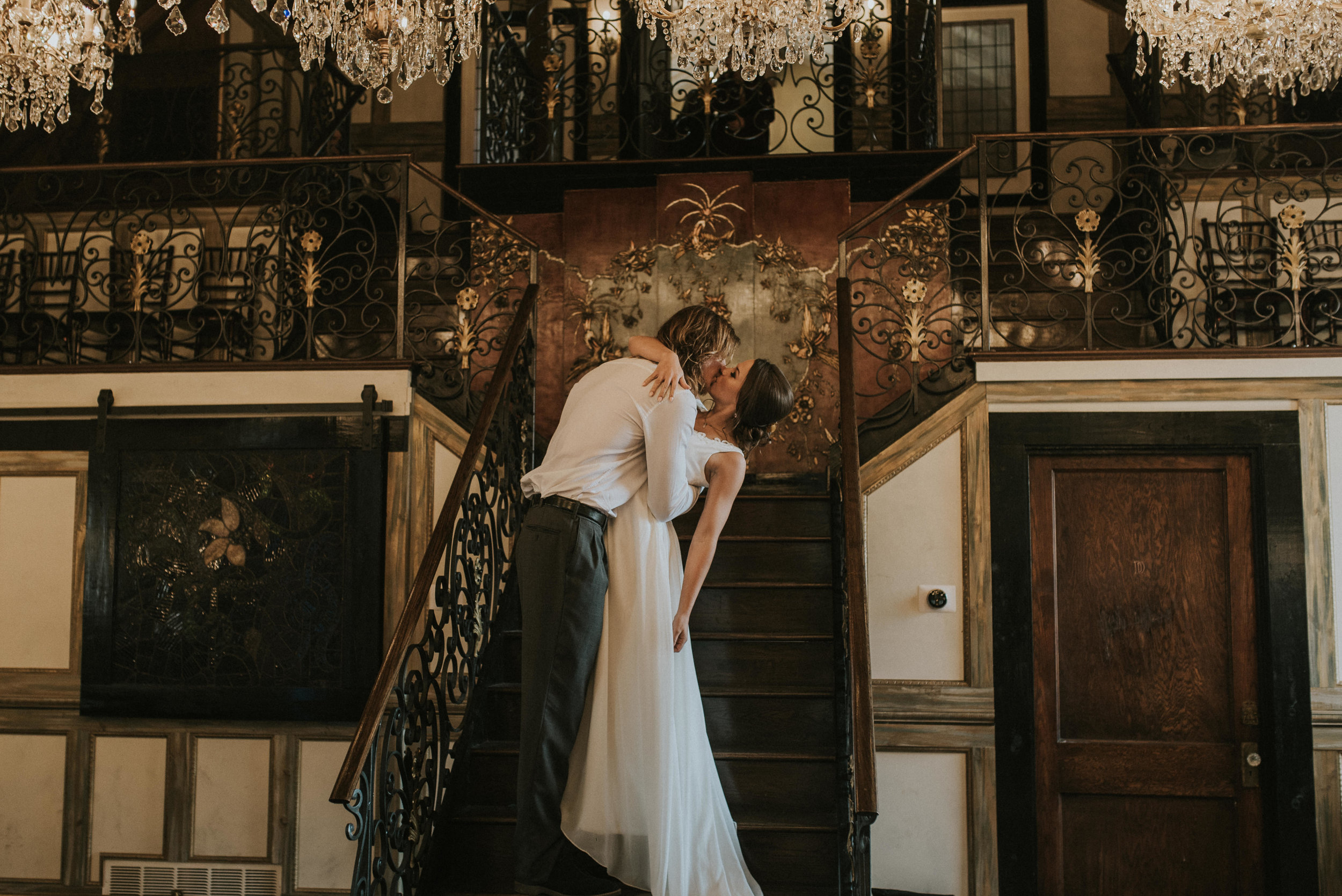 Chandelier Barn first kiss at Lionsgate Event Center in Lafayette, Colorado