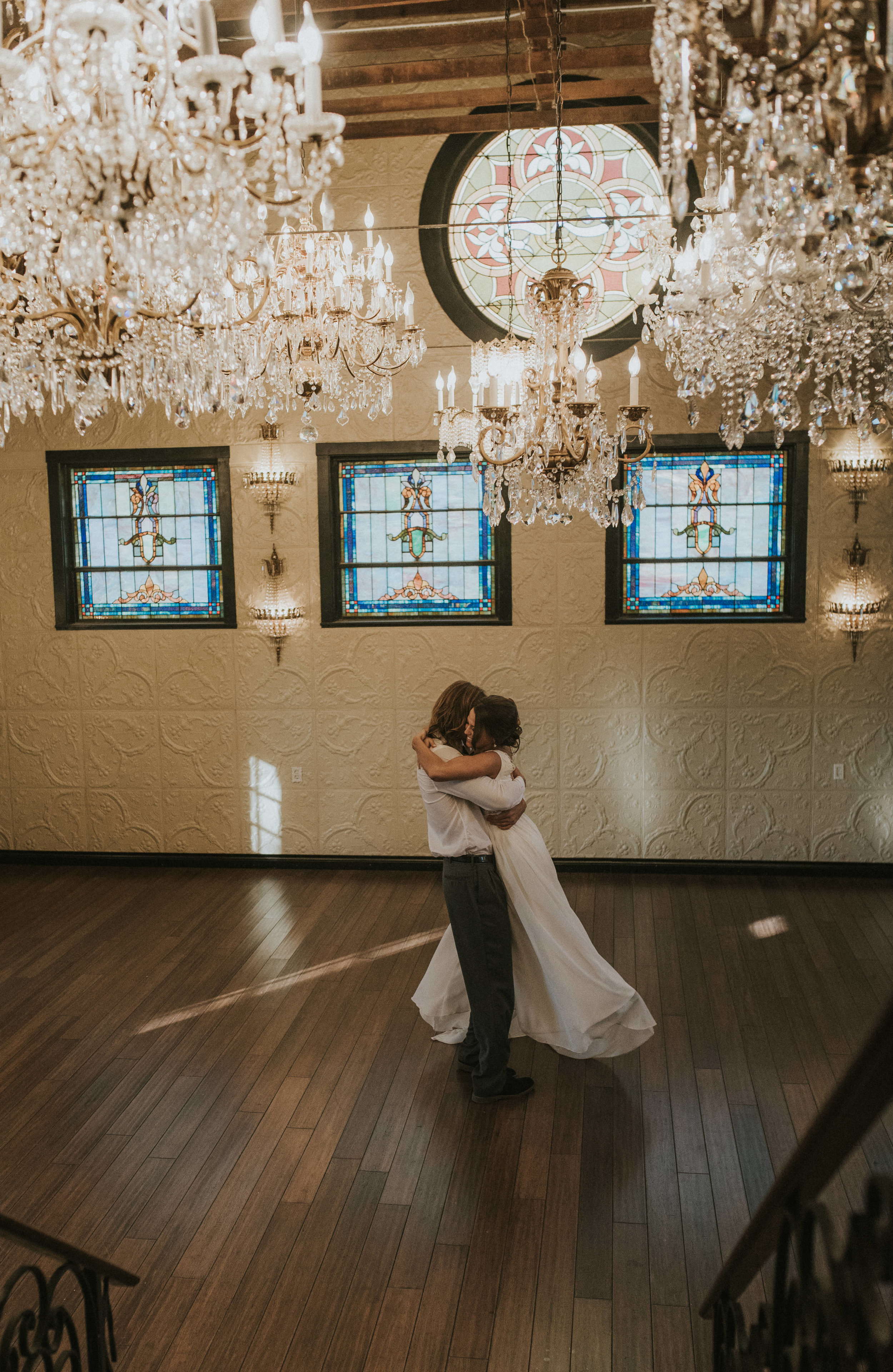 First dance at the Chandelier Barn. Lionsgate Event Center wedding ceremony.