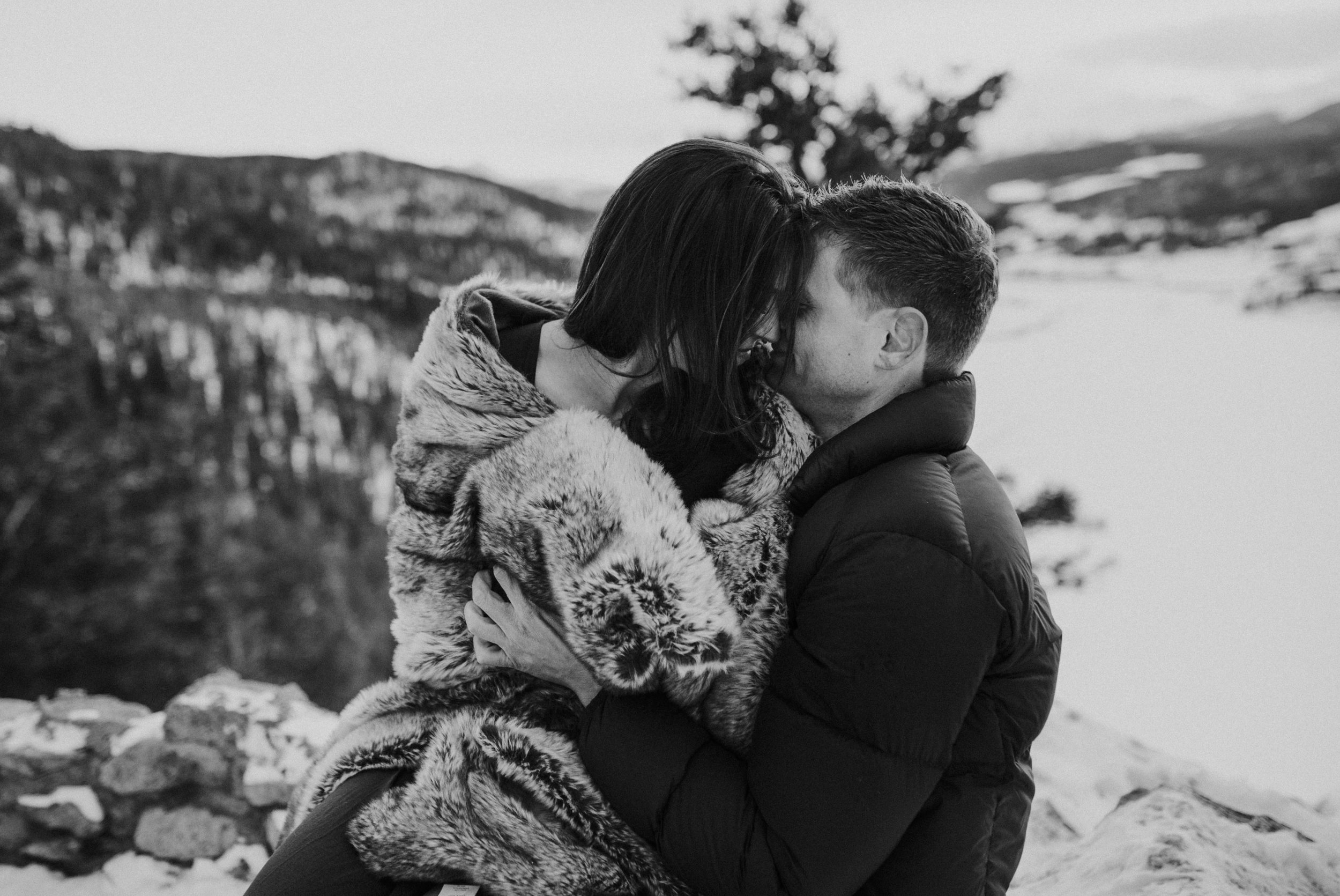 Sapphire Point in Dillon, Colorado winter engagement session.