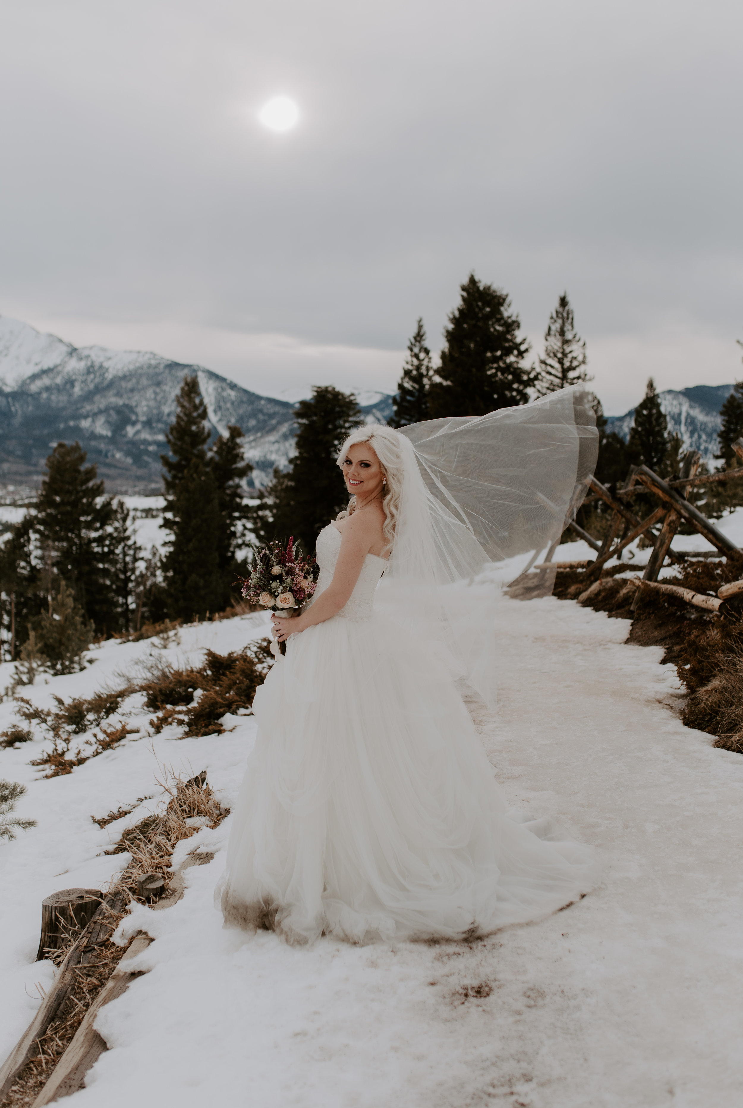 Bridal portraits by a Colorado wedding photographer at a Sapphire Point elopement in Dillon, Colorado.
