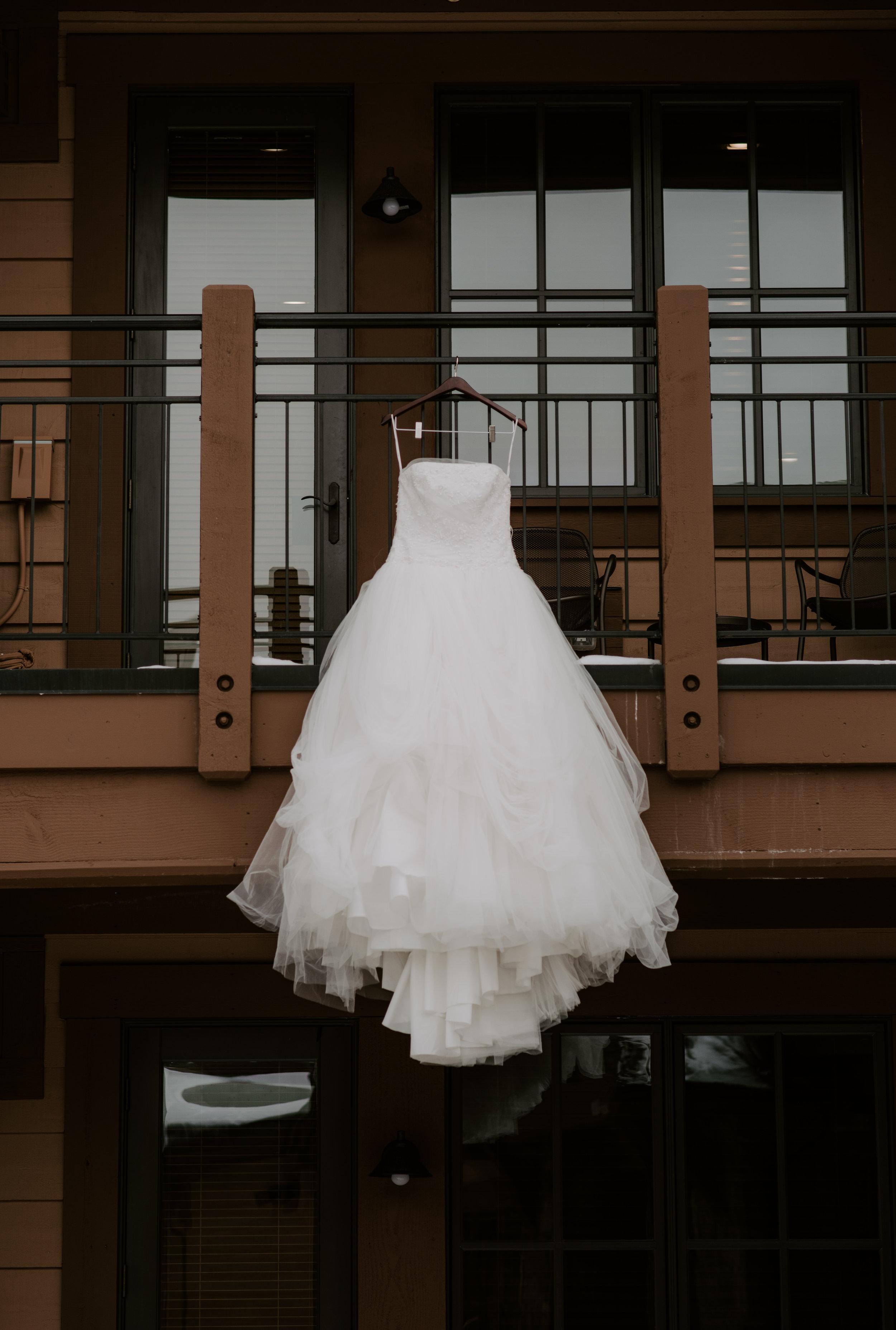 Wedding dress shot by Alyssa Reinhold, Colorado wedding photographer.