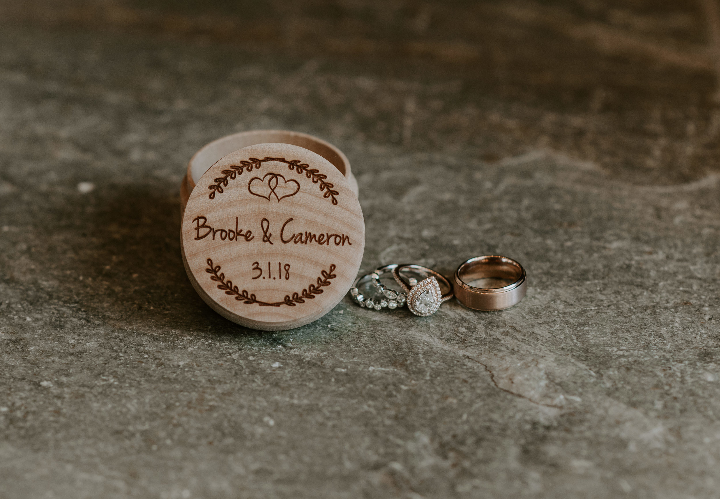 Bride and Groom's wedding rings for their elopement at Sapphire Point.