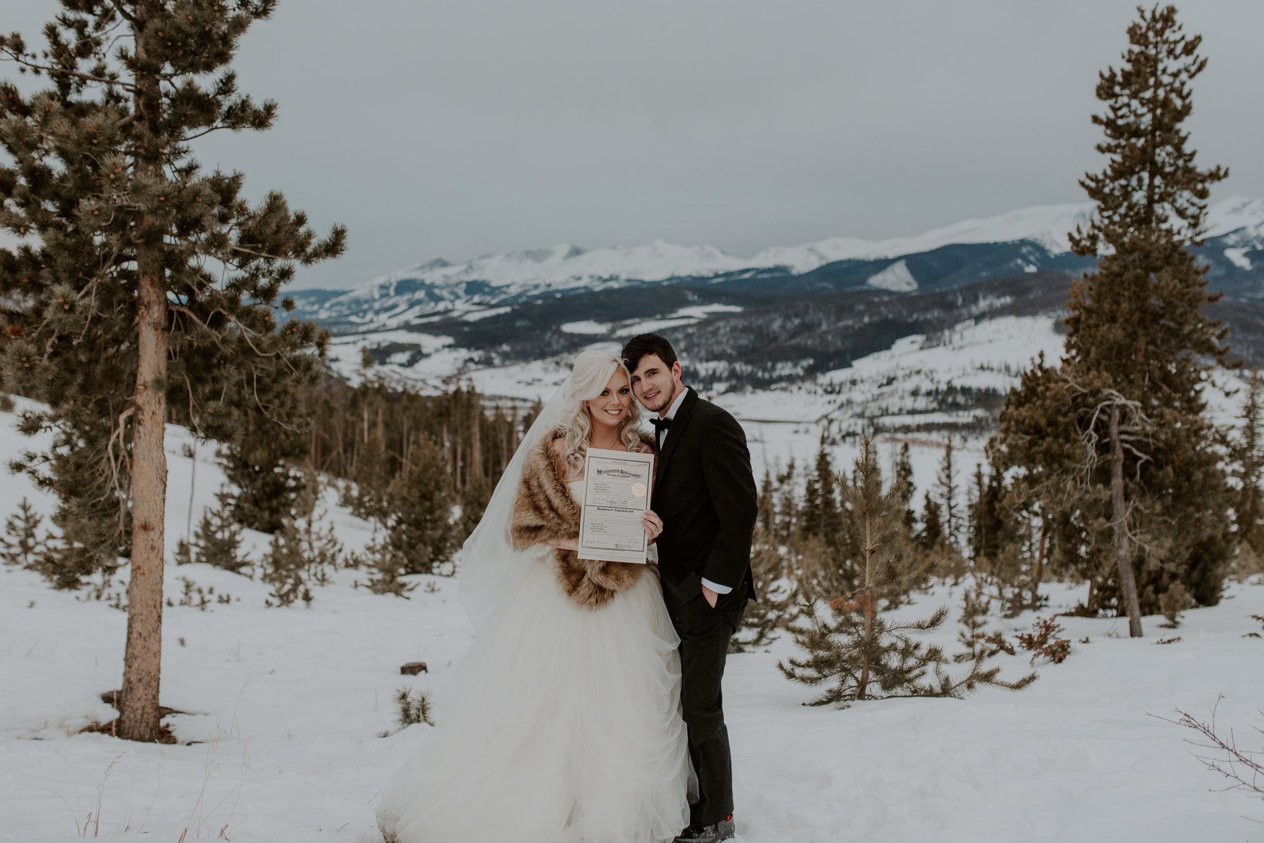 Winter wedding at Sapphire Point in Dillon, Colorado.
