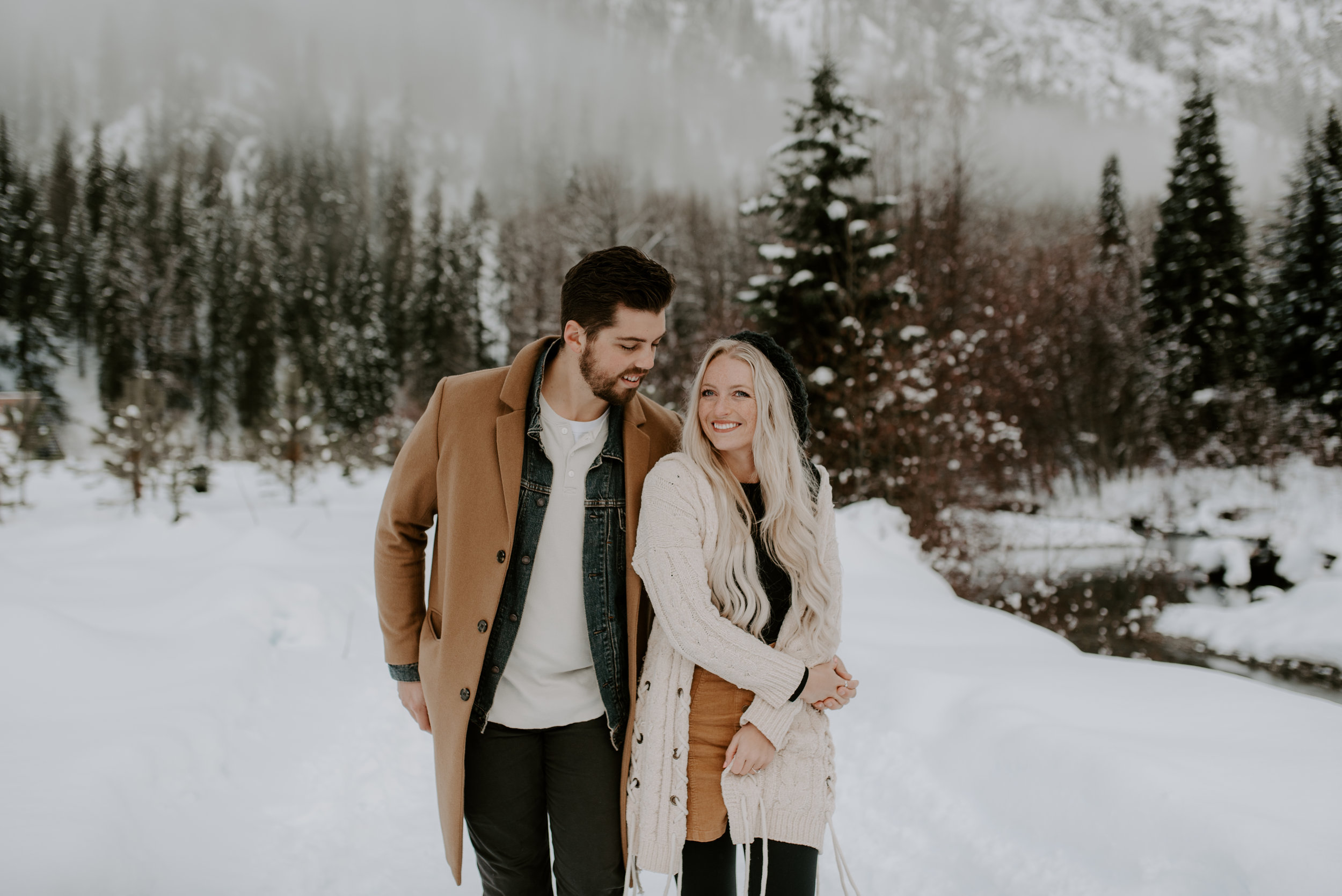 Winter engagement session at North Cascades National Park in Washington
