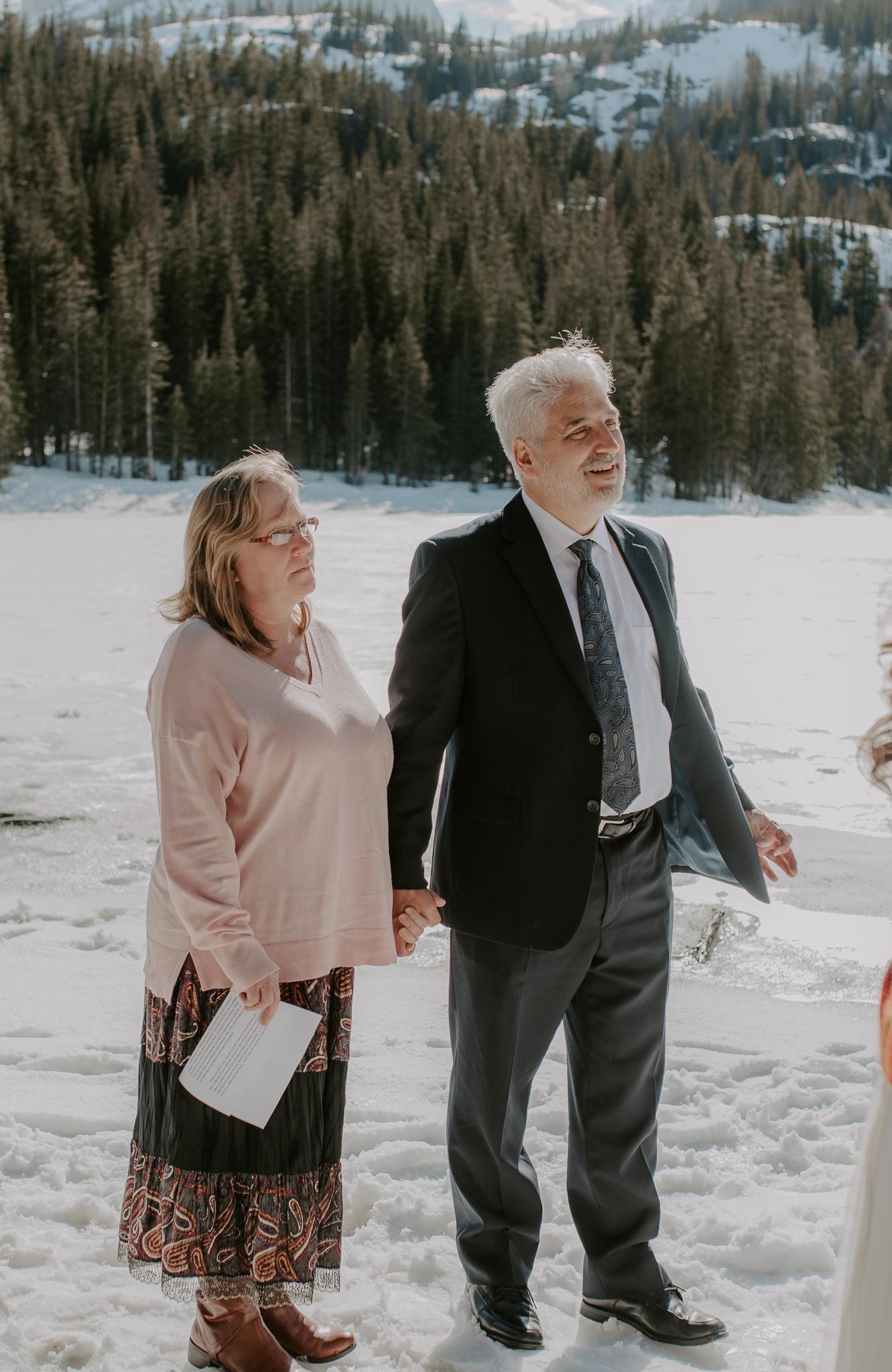 Colorado adventure elopement photographer. Bear Lake winter elopement.