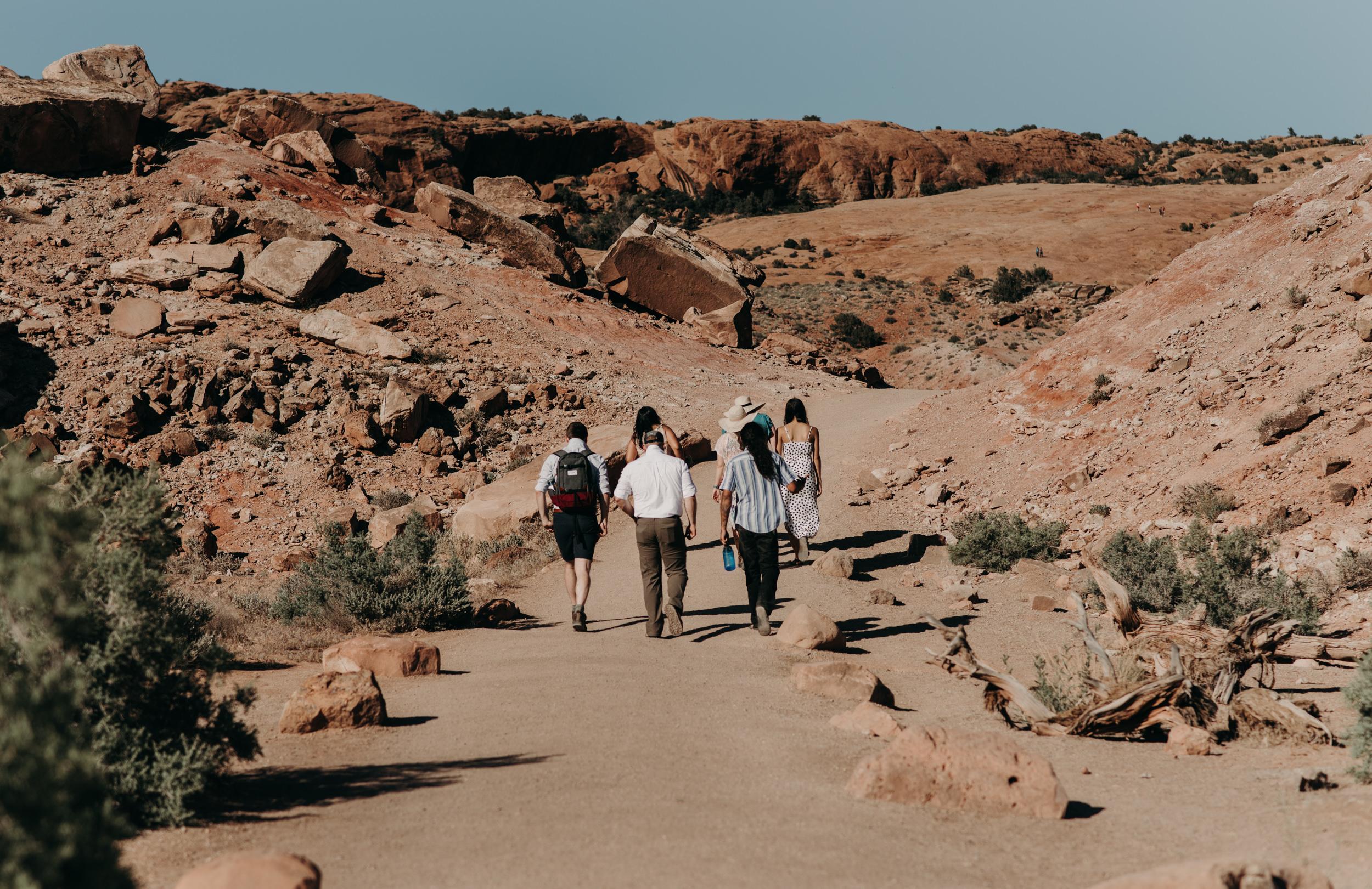 Hiking elopement in Moab, Utah