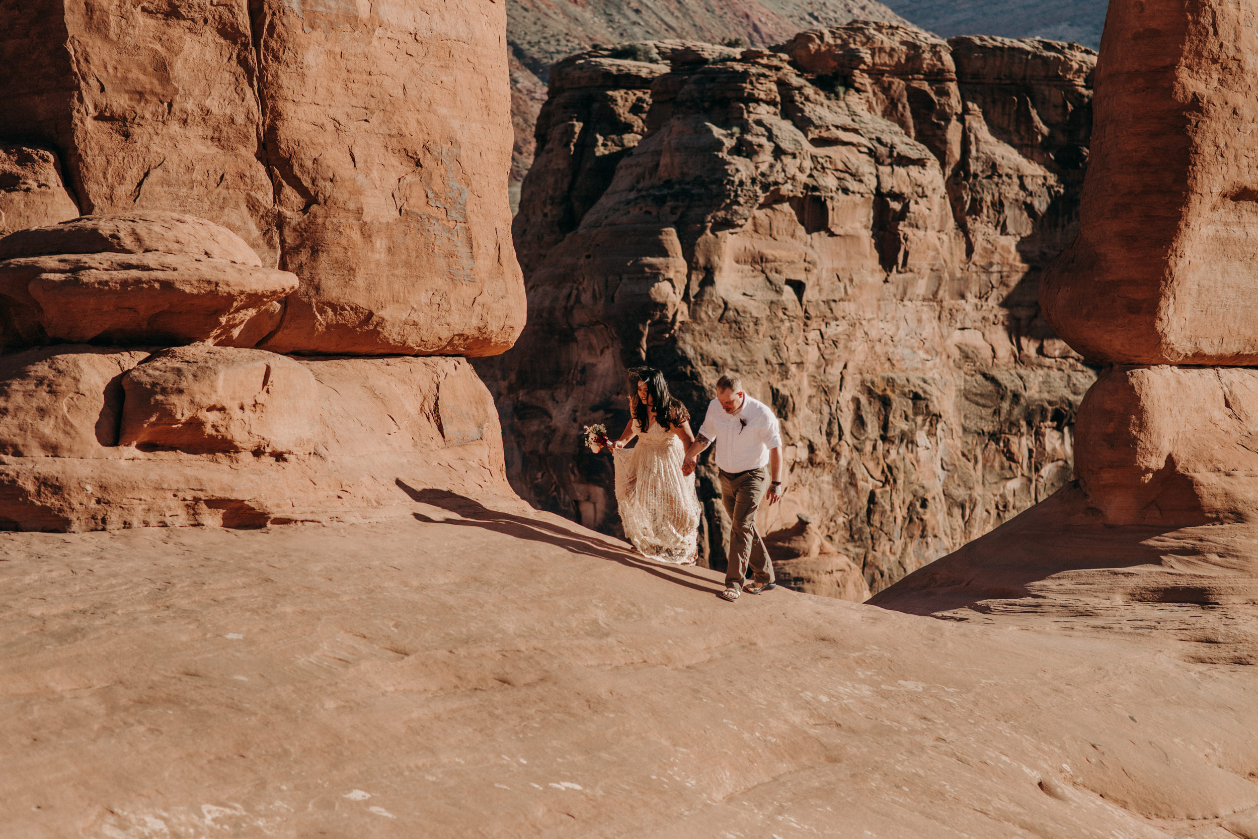 Adventure wedding in Moab. Arches National Park elopement photographer.