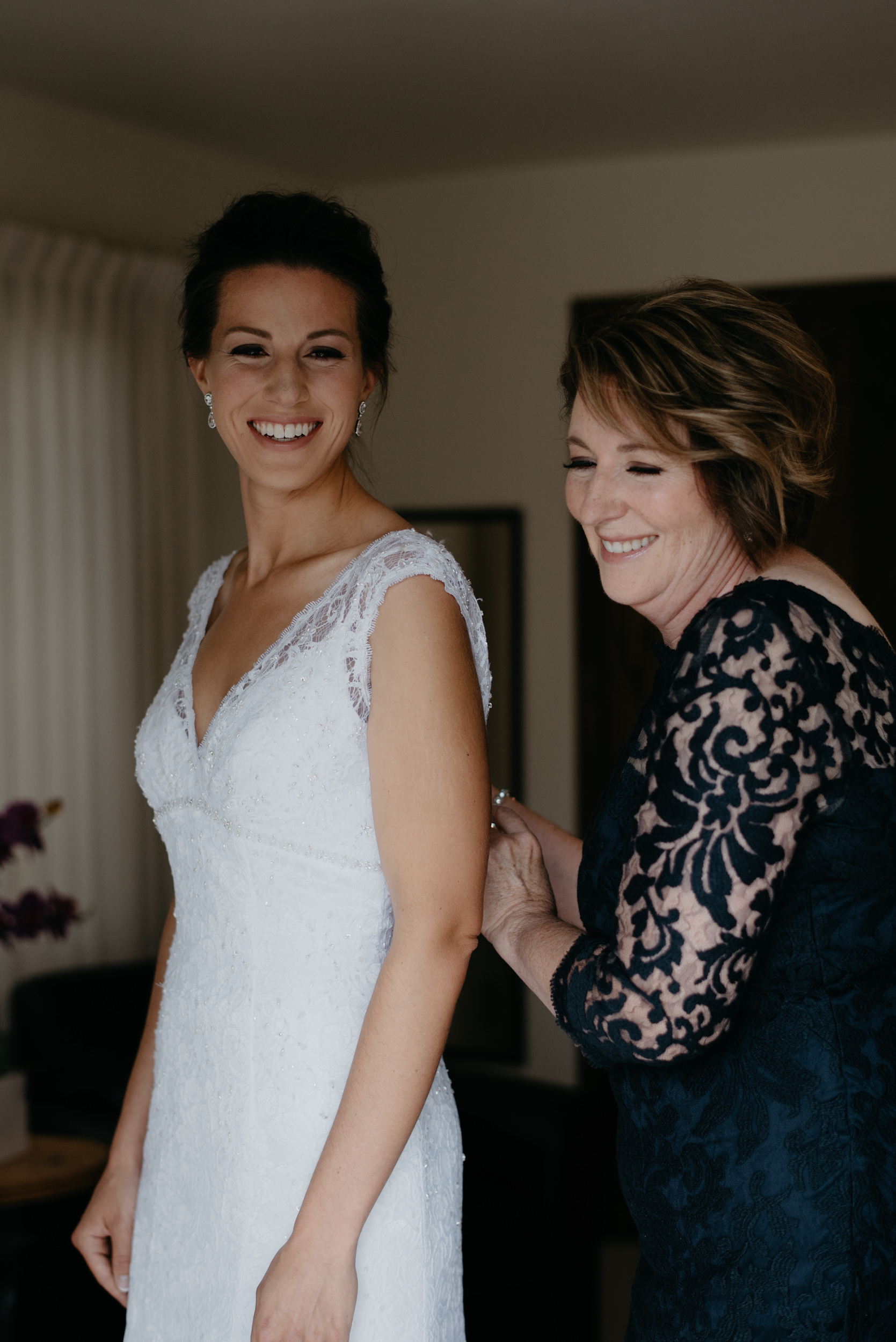 Bride and mom. 3M Curve, Rocky Mountain National Park elopement.