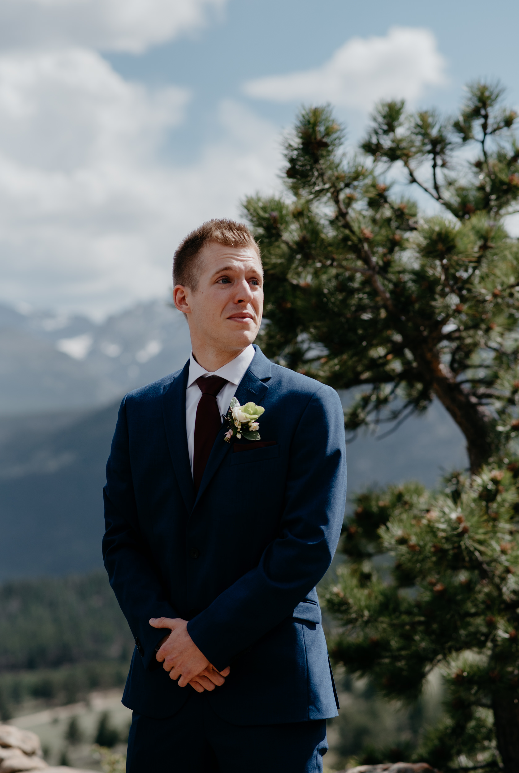 3M Curve, Rocky Mountain National Park elopement. Colorado wedding photographer. Grooms reaction seeing bride.