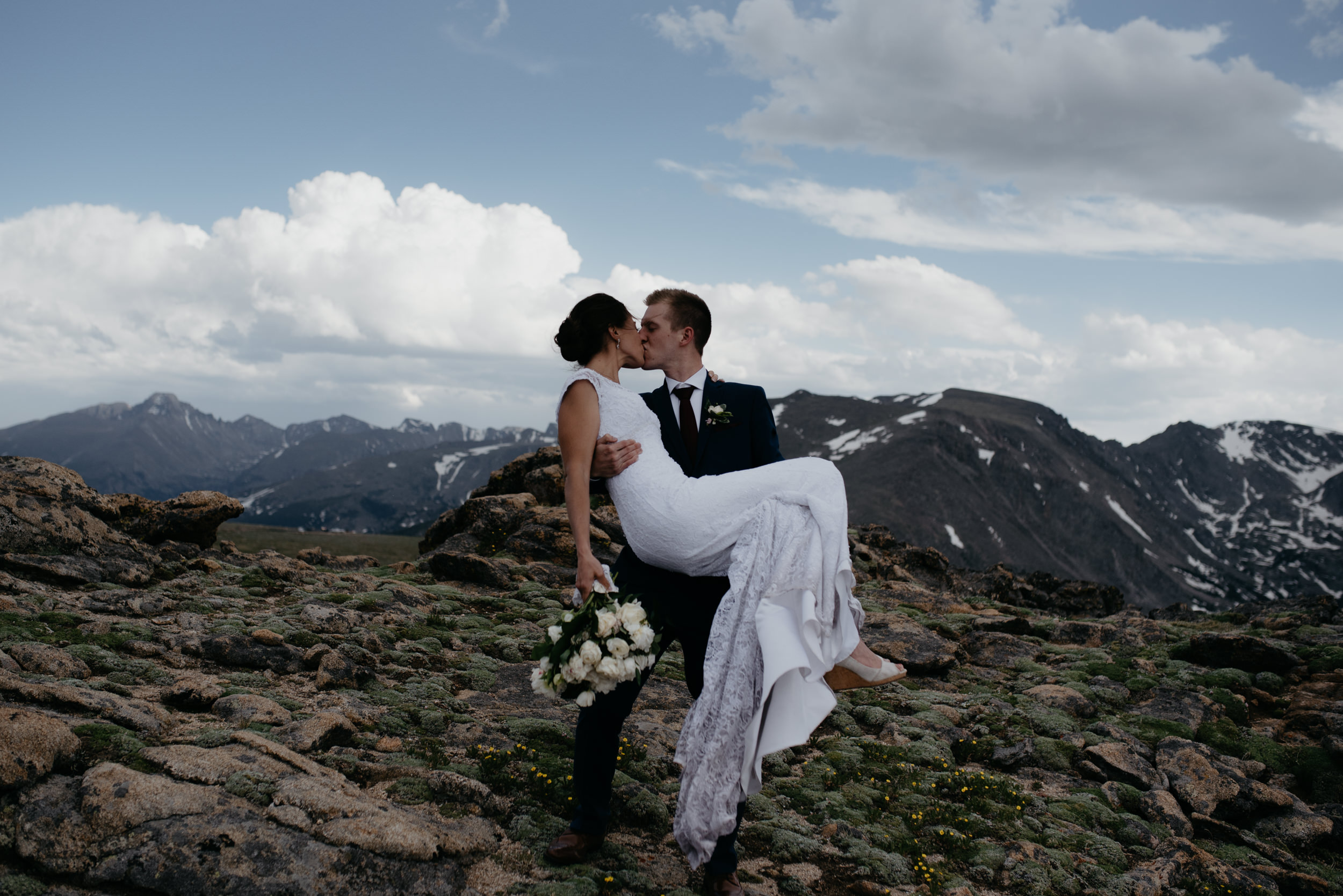 Colorado adventure elopement photographer. Trail Ridge Road elopement in Rocky Mountain National Park.