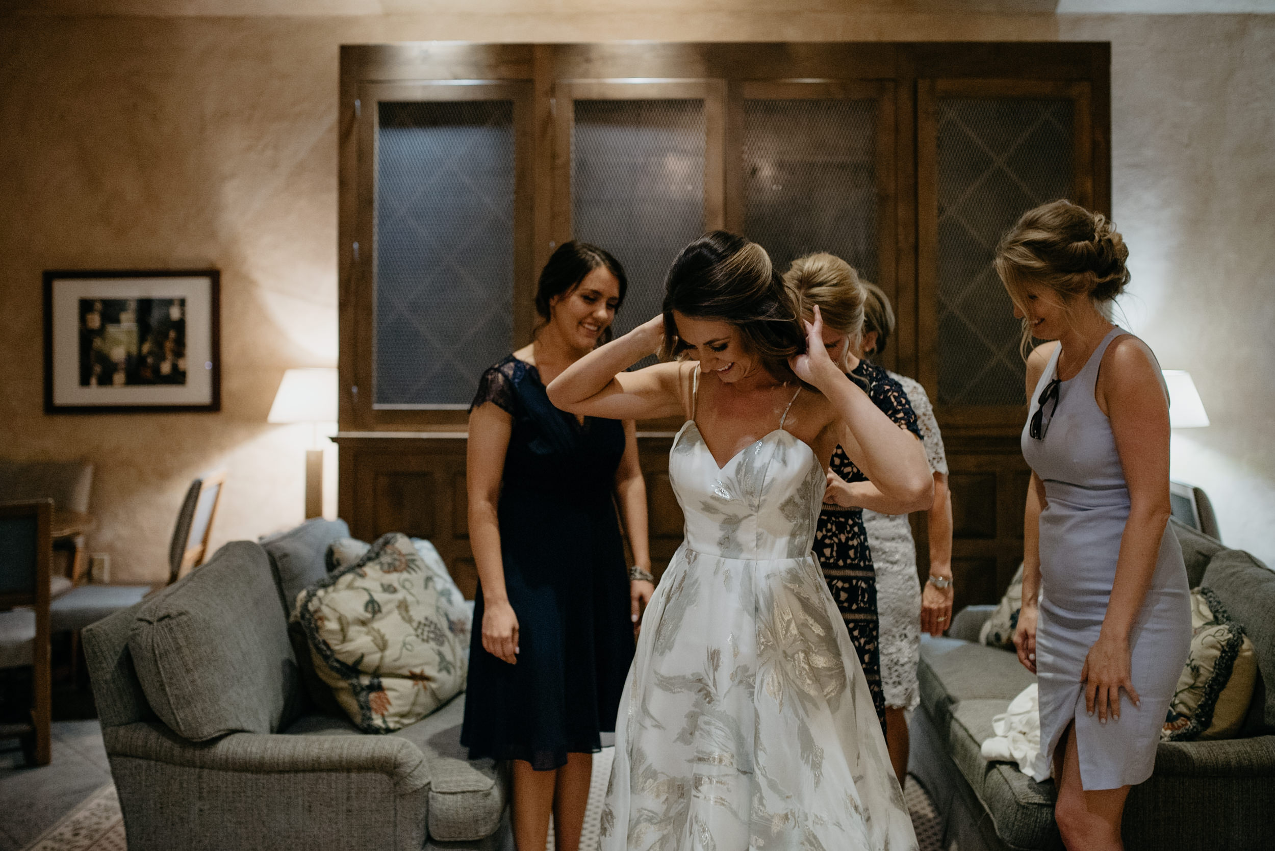 Girls getting ready at The L:title Nell. Aspen, Colorado wedding photographer.