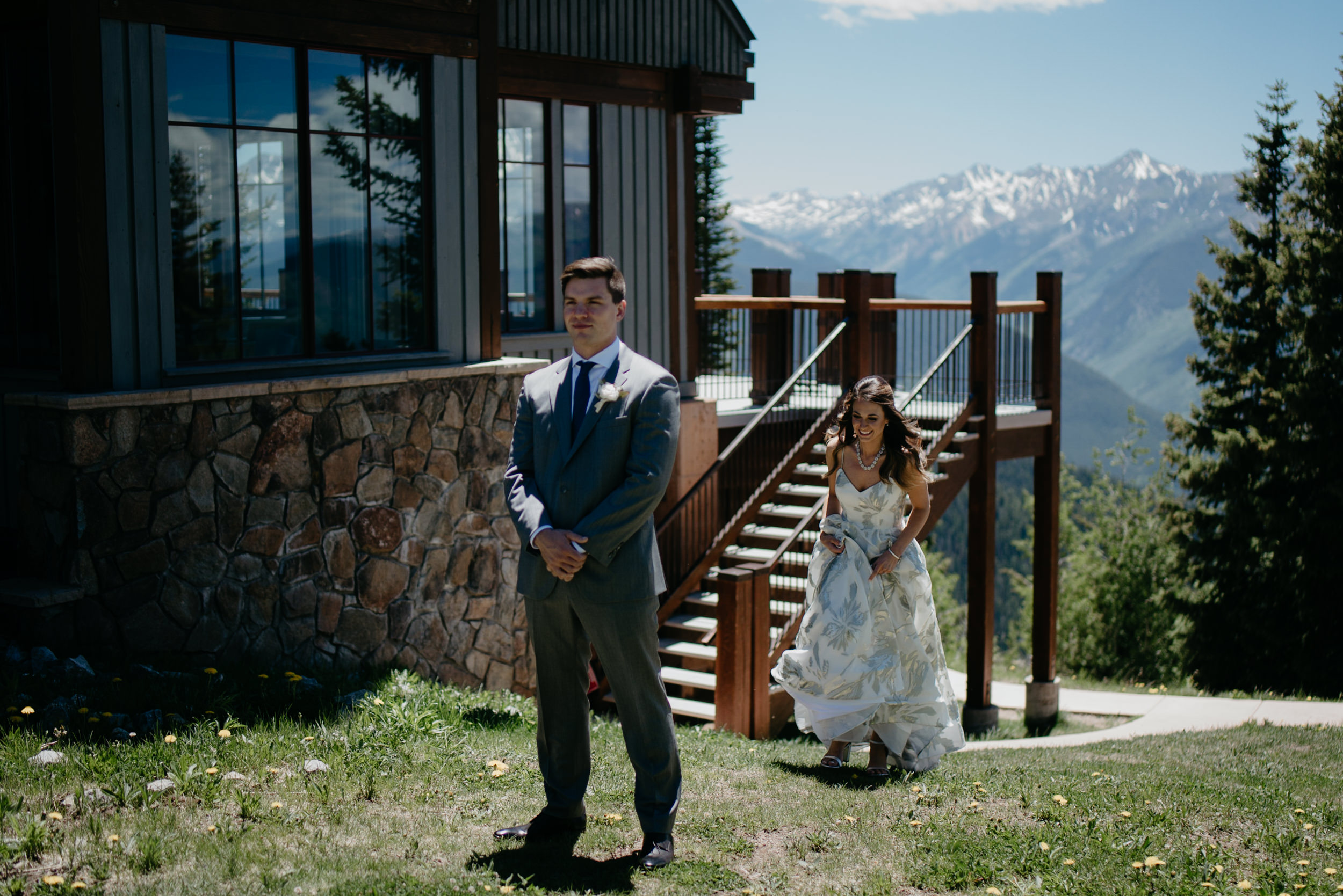 The Little Nell wedding in Aspen, CO. First look with bride and groom.