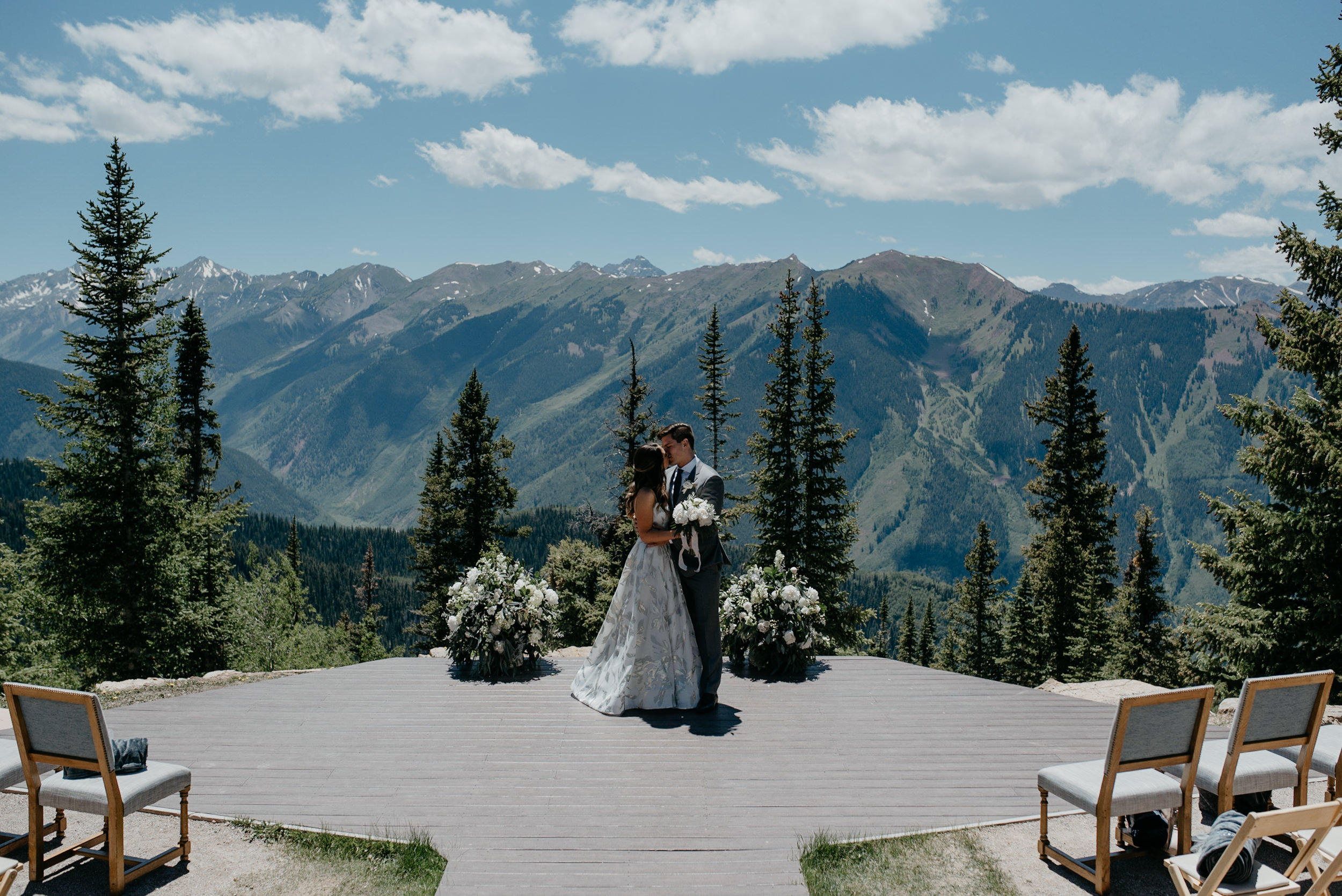 Bride and groom at The Little Nell. Colorado wedding and elopement photographer.