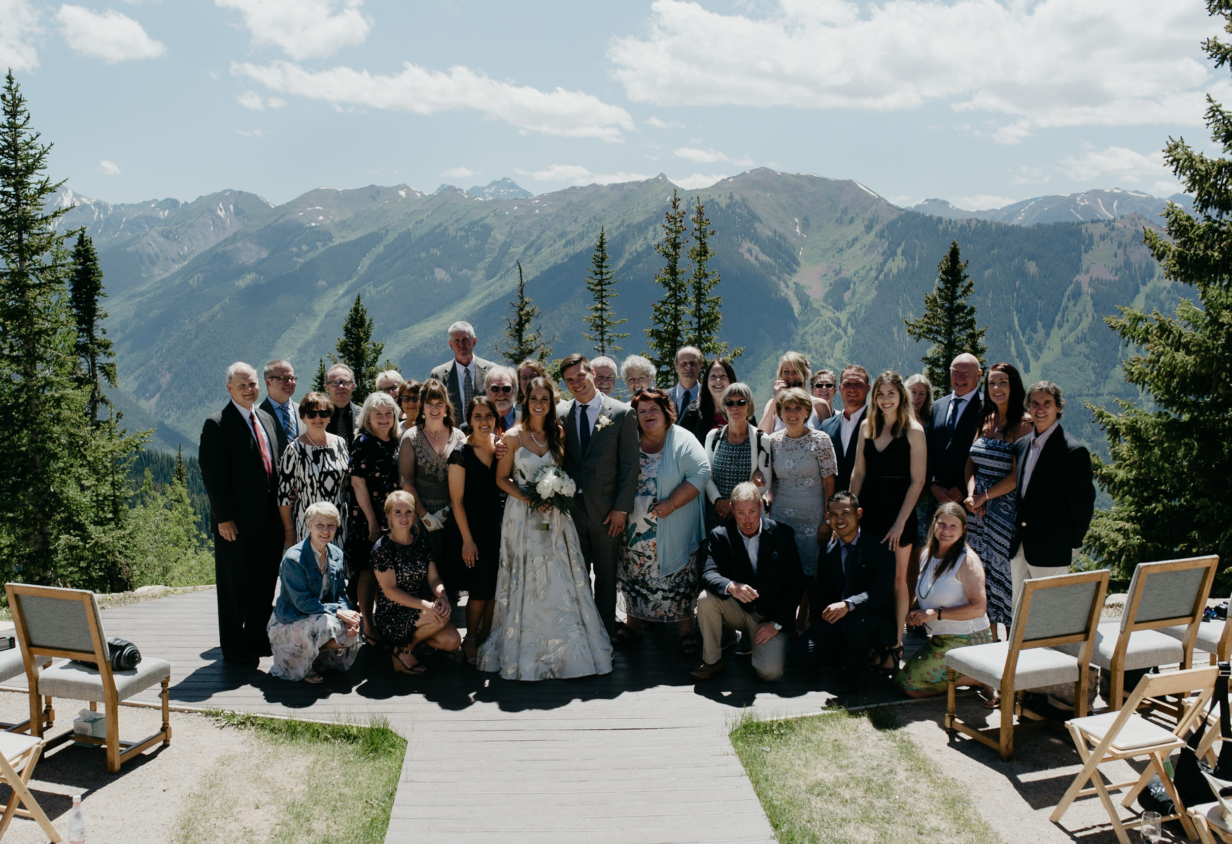 Group photo of wedding at The Little Nell