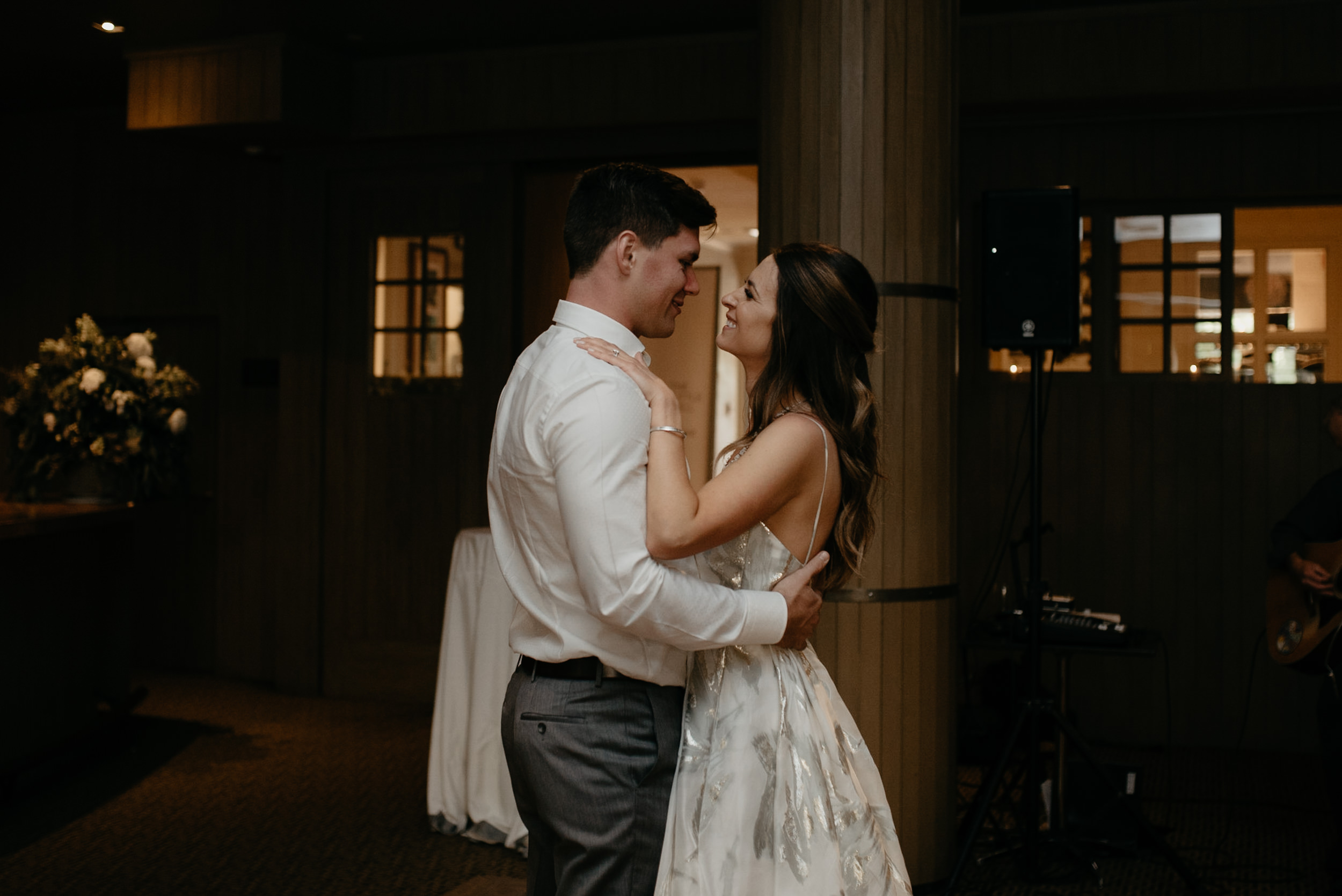 Wedding at The Little Nell in Aspen, Colorado. Bride and groom's first dance.