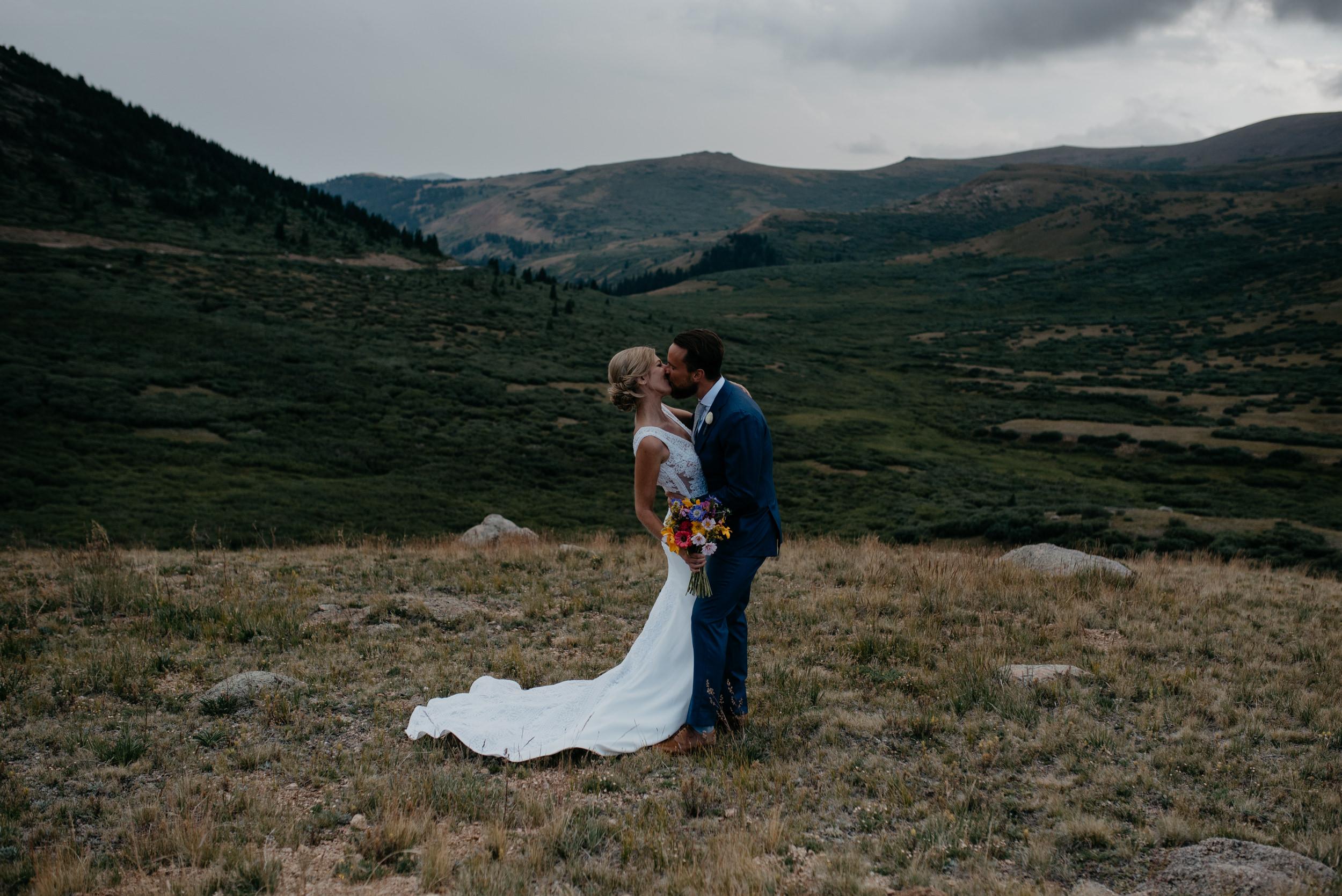 Kissing photo at a Guanella Pass elopement