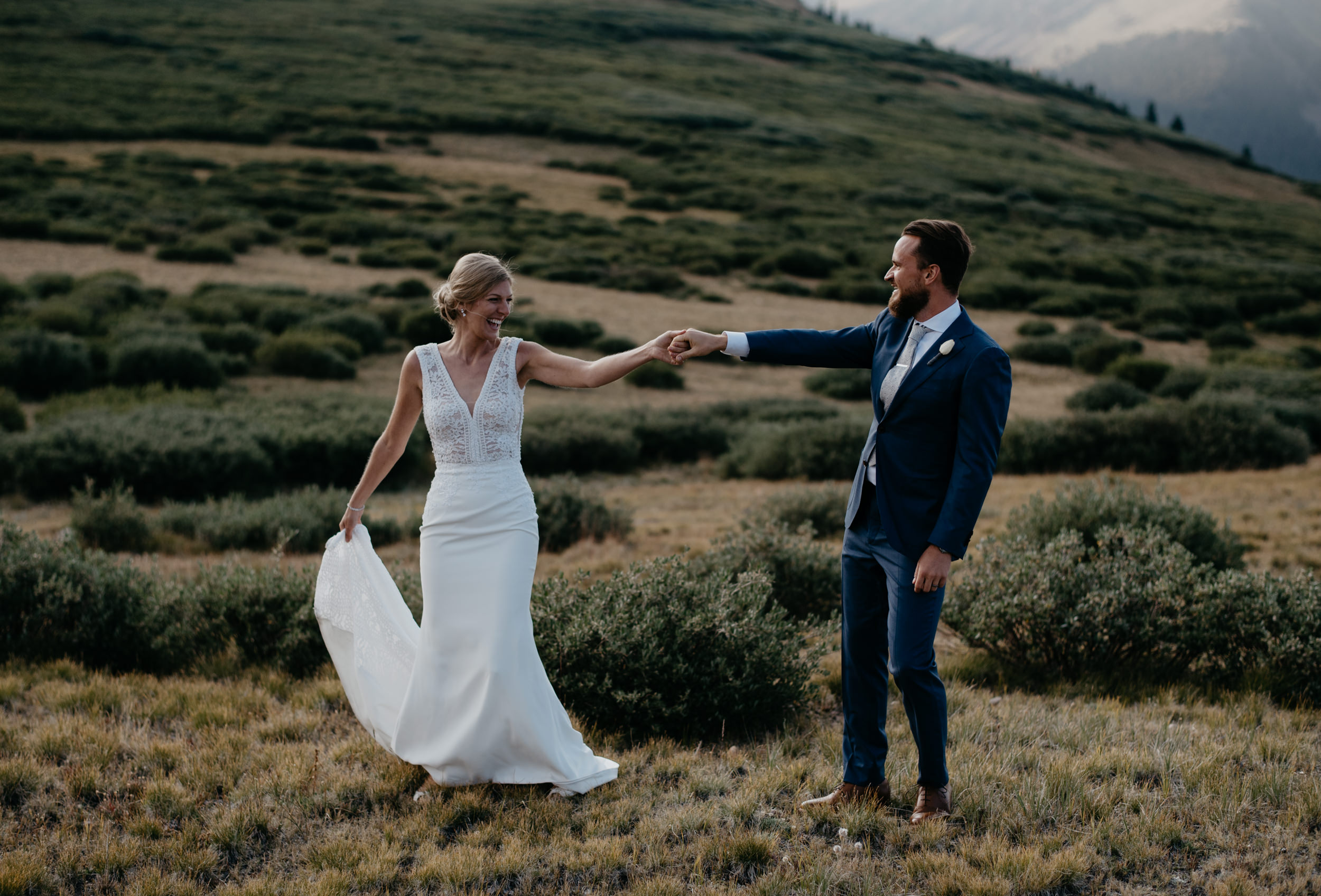 Bride and groom dancing at Georgetown wedding in Colorado. Colorado elopement and wedding photography.