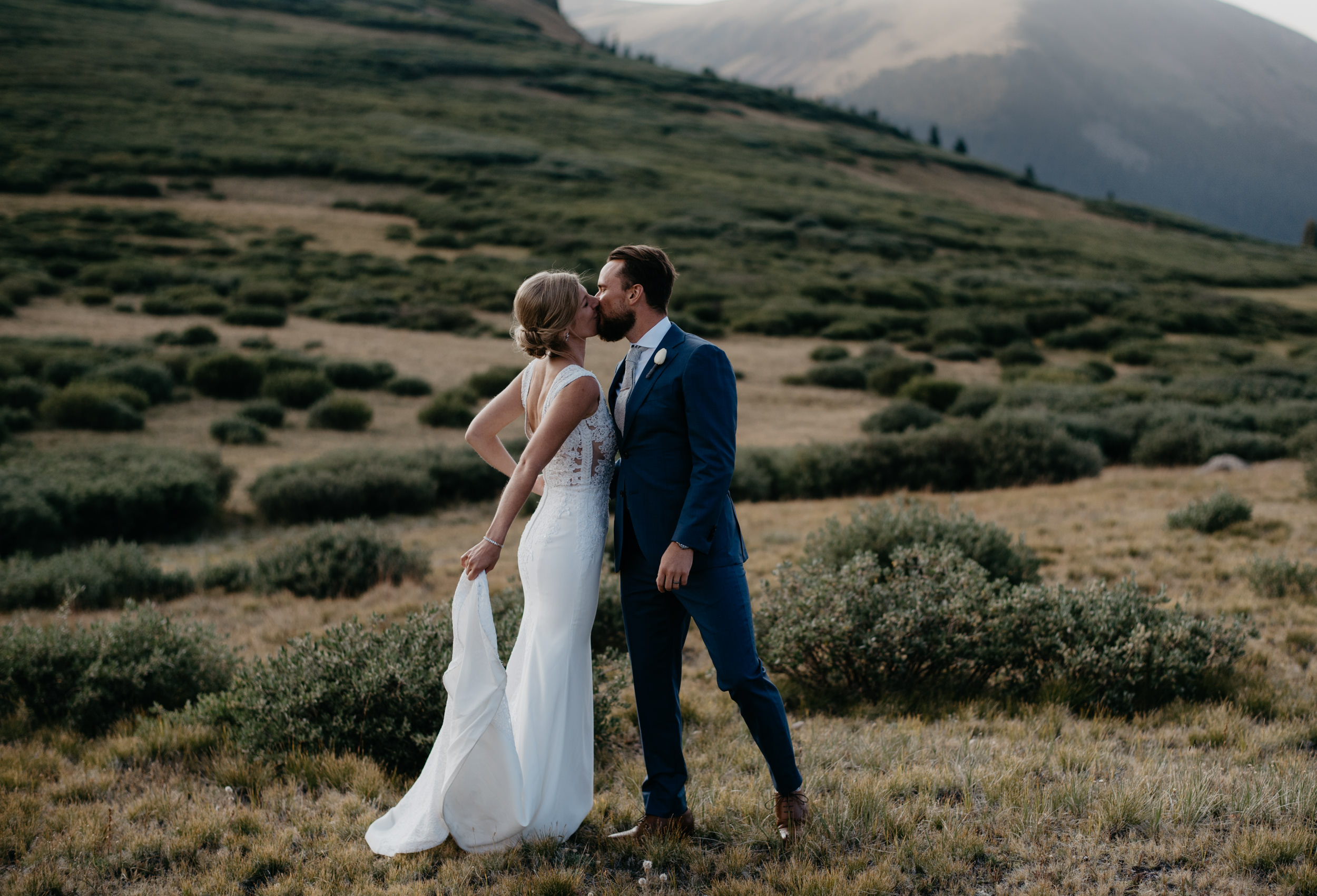 Bride and groom portraits at an elopement at Guanella Pass in Colorado.