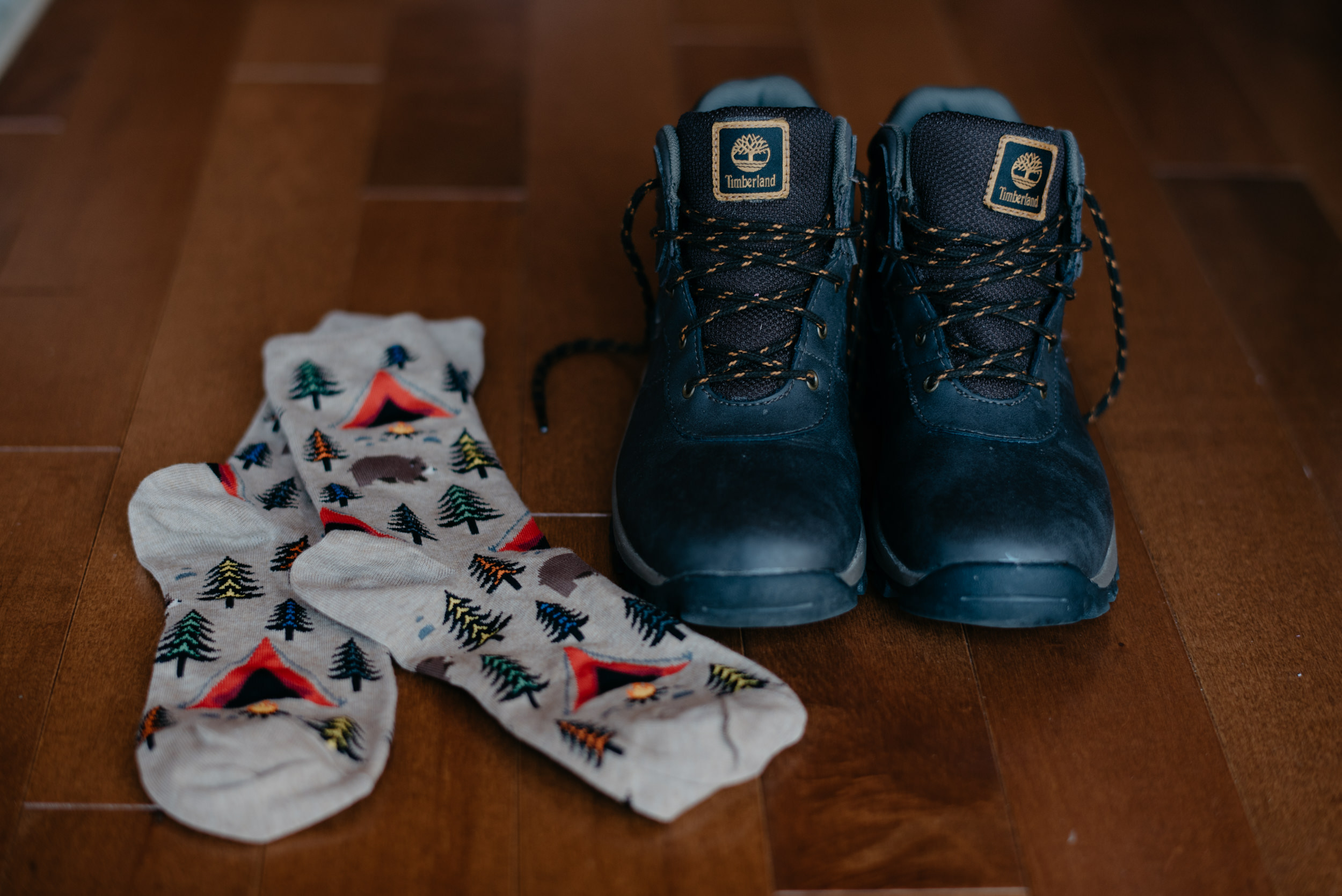 Hiking boots worn to ceremony in Rocky Mountain National Park.