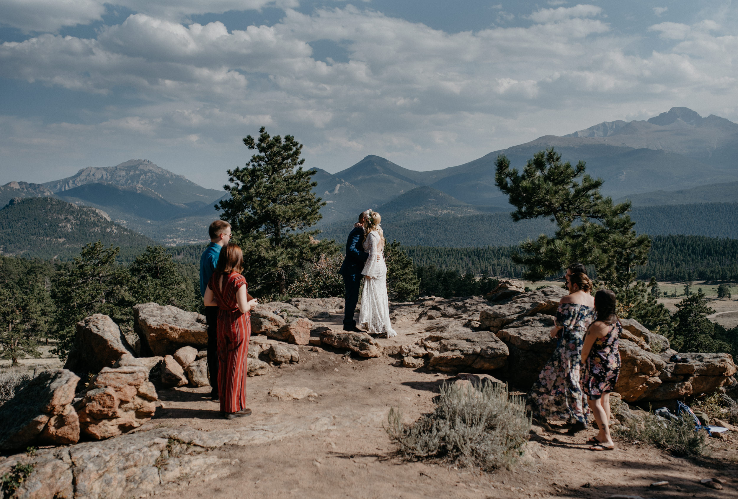 Ceremony at 3M curve in Rocky Mountain National Park. Colorado based elopement and wedding photographer.