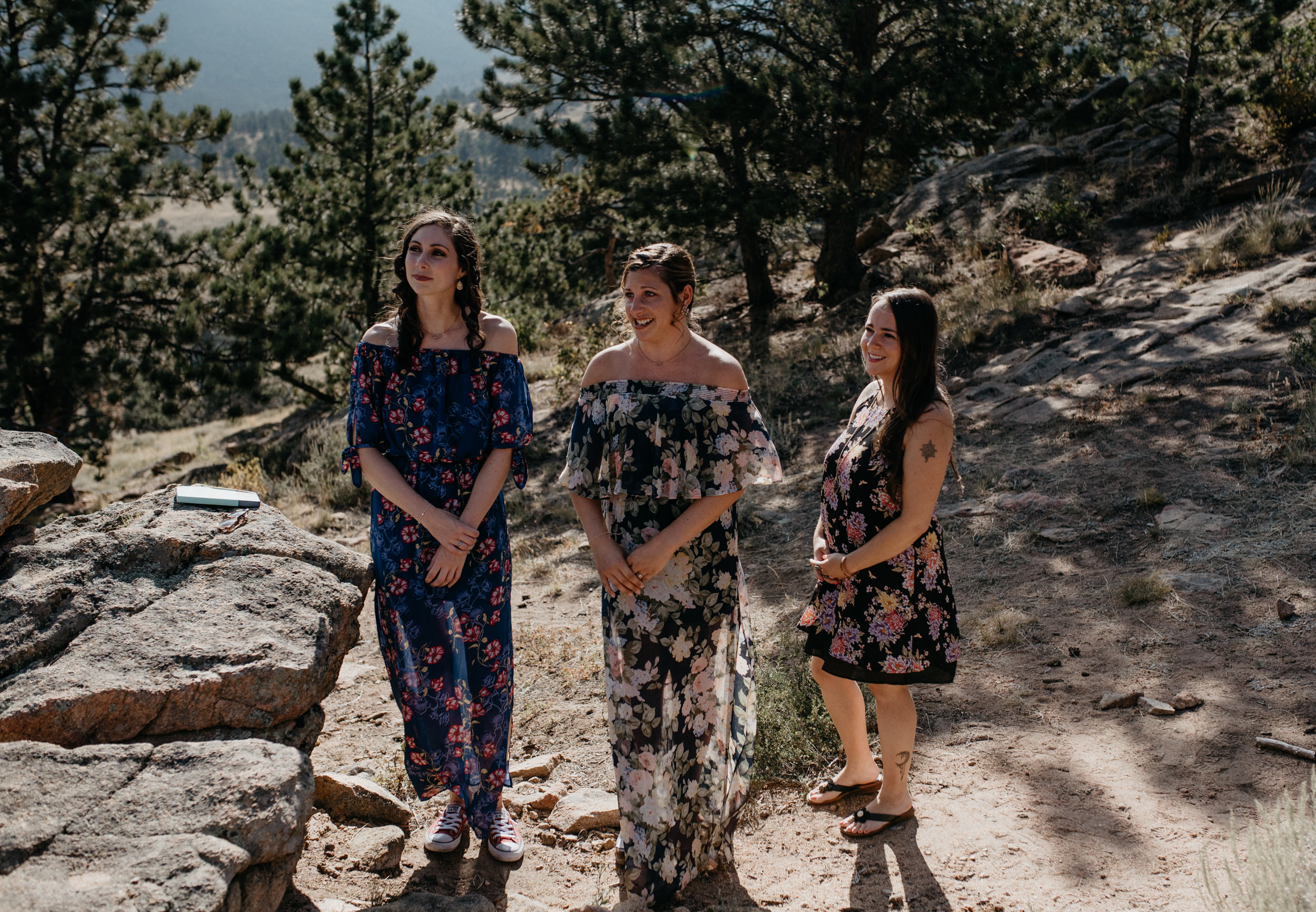 Friends at an intimate wedding in Estes Park.