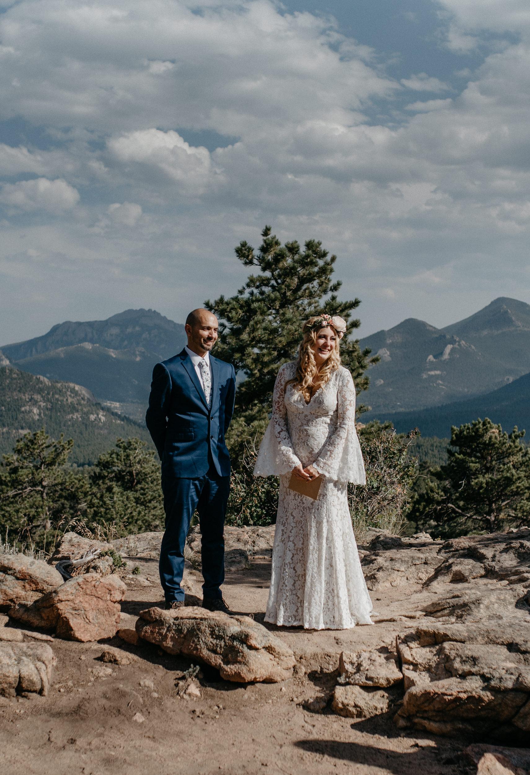 Estes Park elopement at 3M curve. Rocky Mountain National Park wedding photographer.