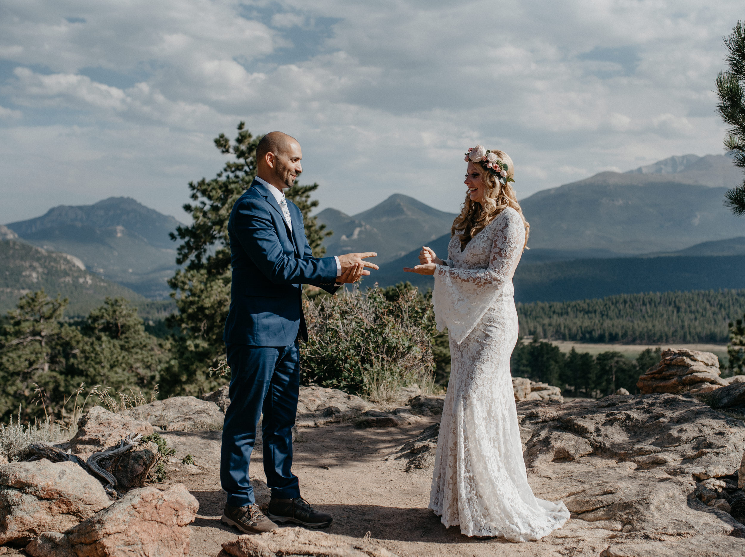 Intimate ceremony at 3M curve in Estes Park. Colorado elopement and wedding photographer.
