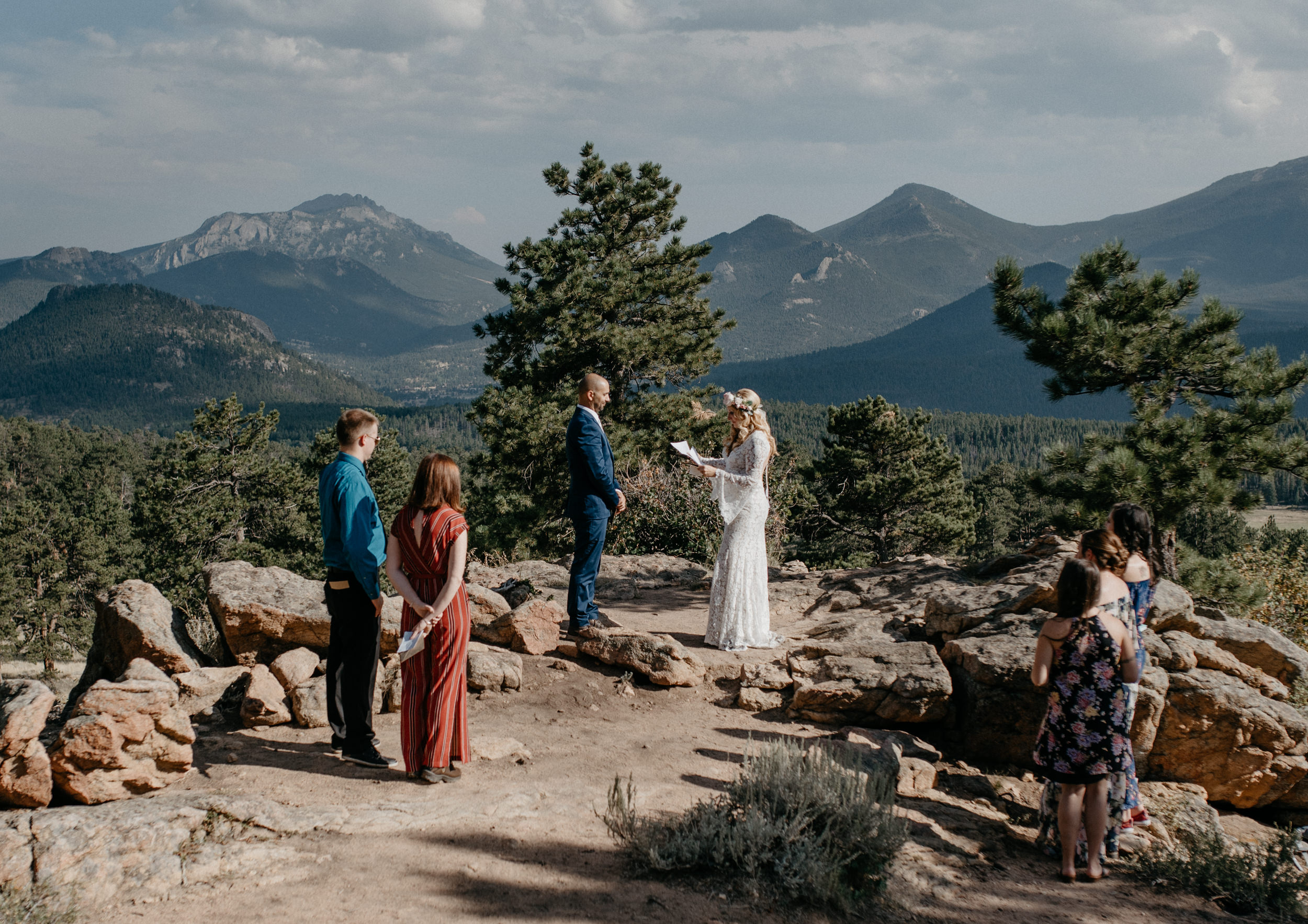 Ceremony in Rocky Mountain National Park. Colorado elopement photographer.