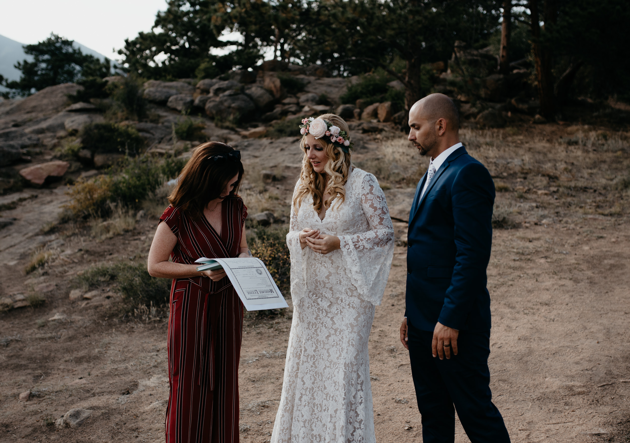 Marriage license signing. Colorado elopement photographer.
