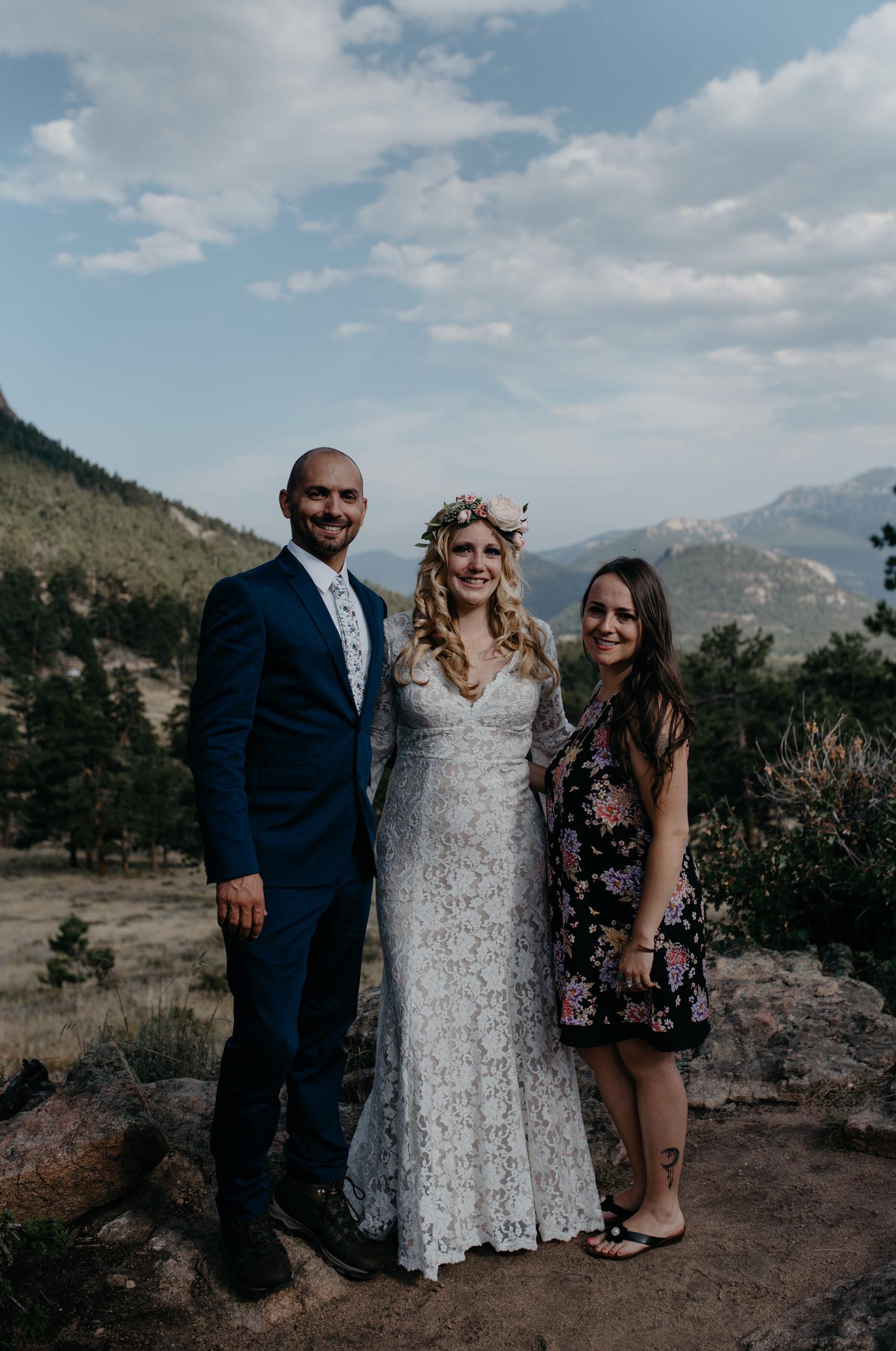 Wedding party photos, Colorado elopement photographer.