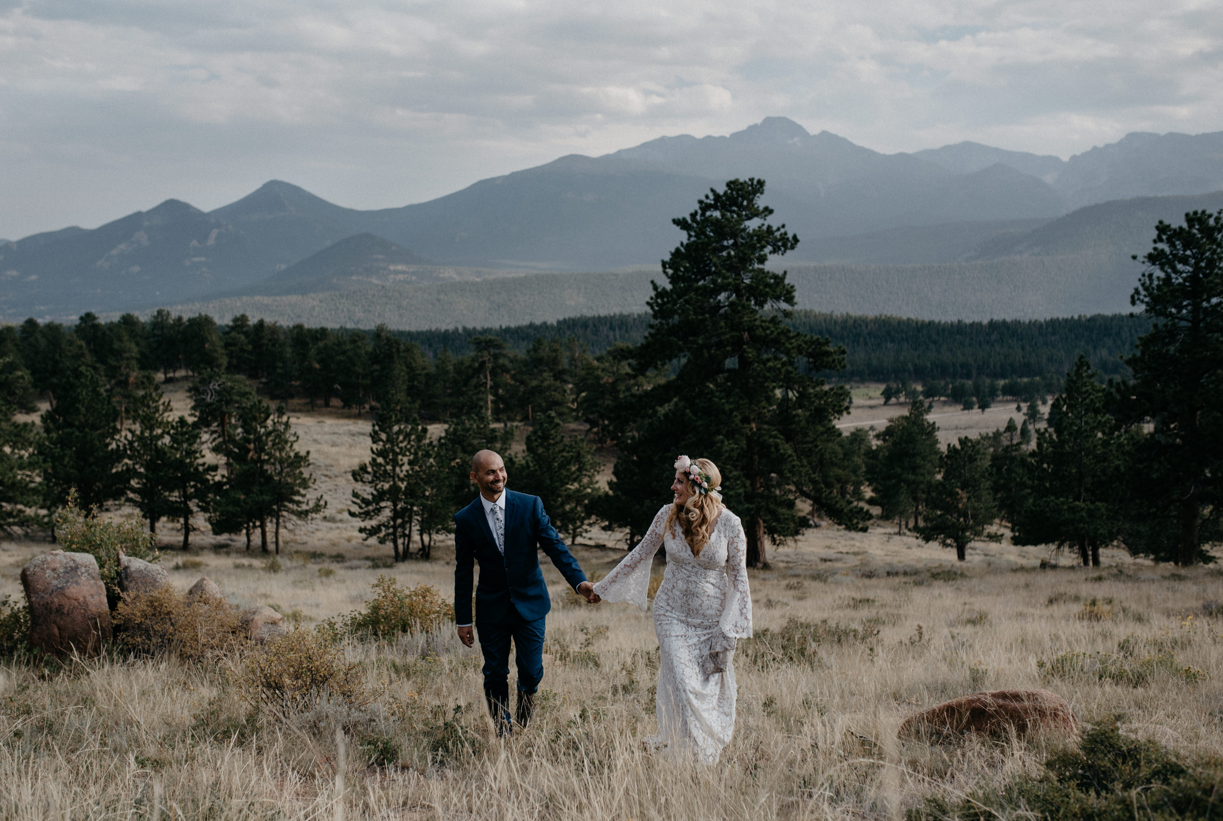Couples photos at 3m curve in Rocky Mountain National Park. Colorado elopement and wedding photographer.
