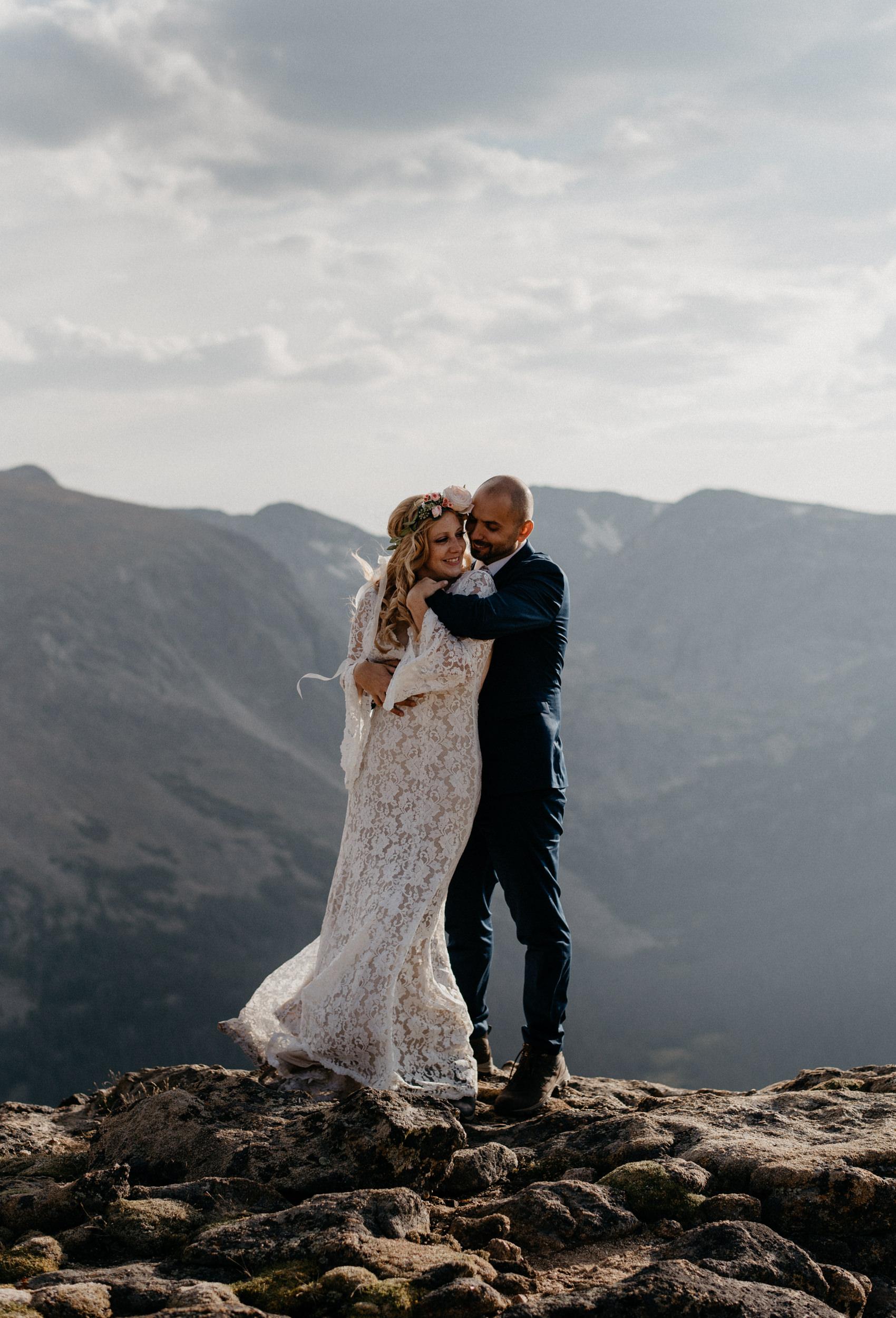 Denver, Colorado based elopement photographer. Mountain wedding photographer. Rocky Mountain National Park adventure wedding.