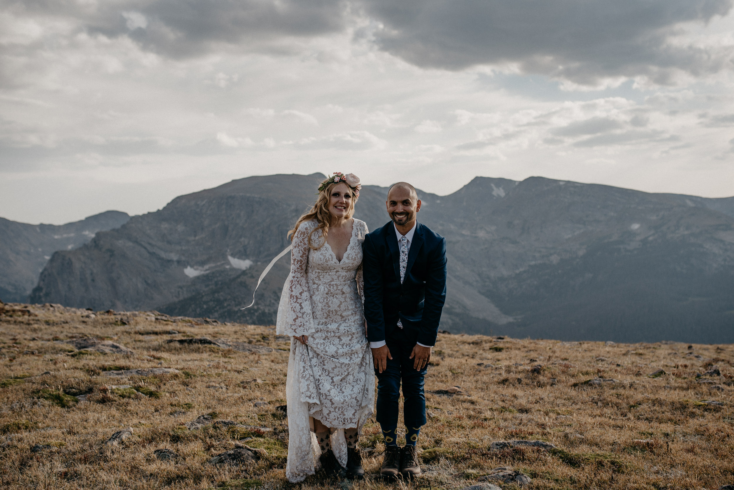 Trail Ridge Road adventure elopement photos in Rocky Mountain National Park.