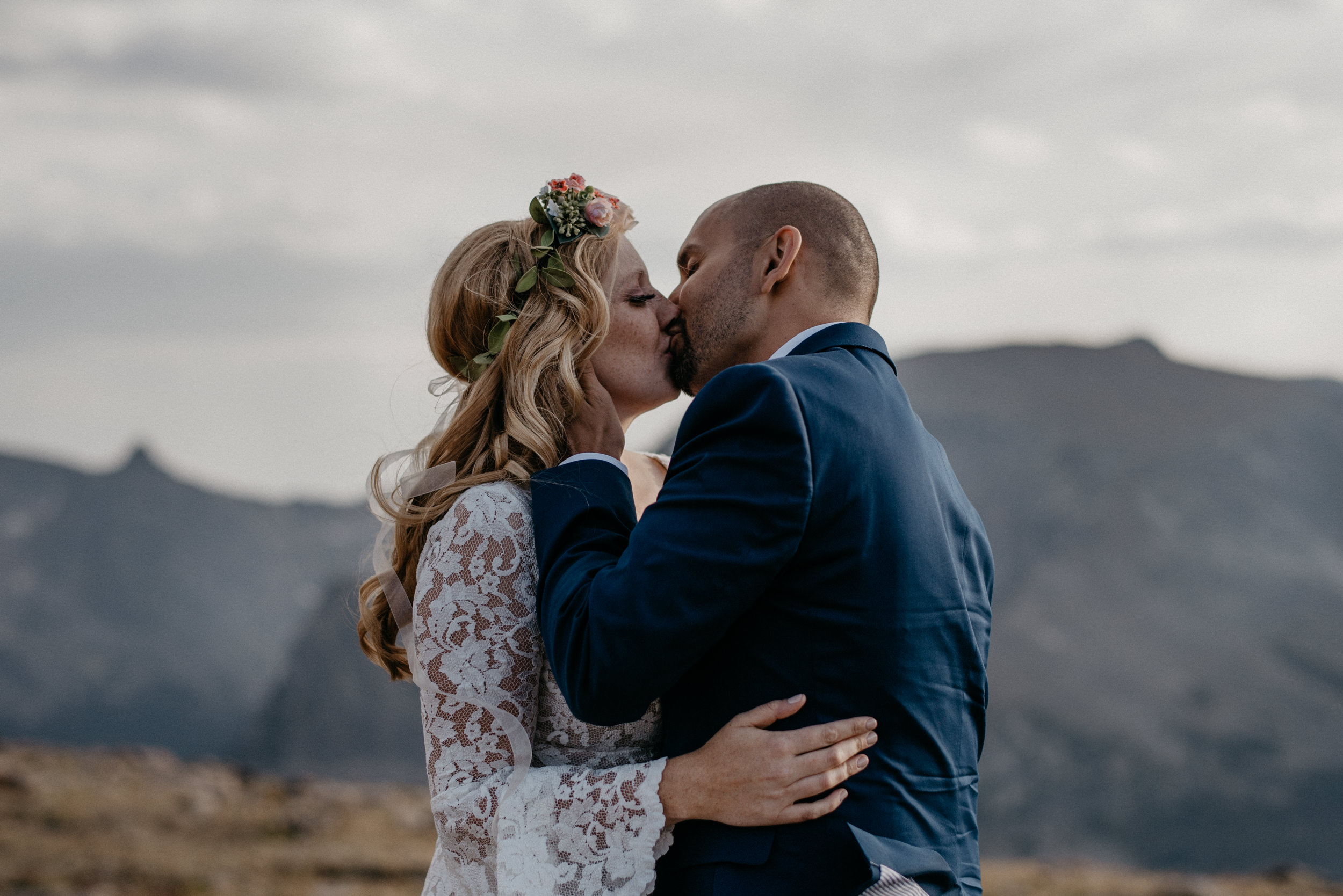 Couples portraits at Trail Ridge Road. Colorado elopement and wedding photographer.