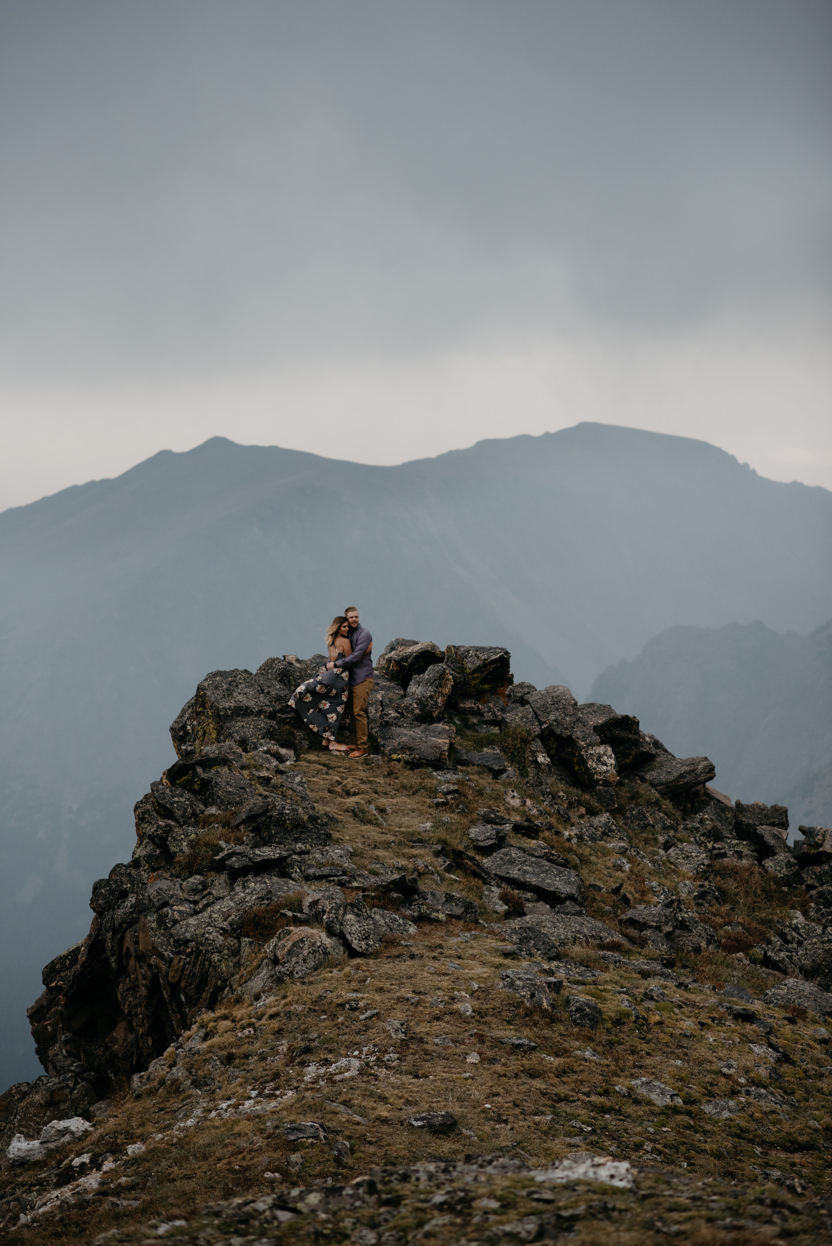Colorado adventure elopement photographer, Alyssa Reinhold. Adventure engagement session in Rocky Mountain National Park.