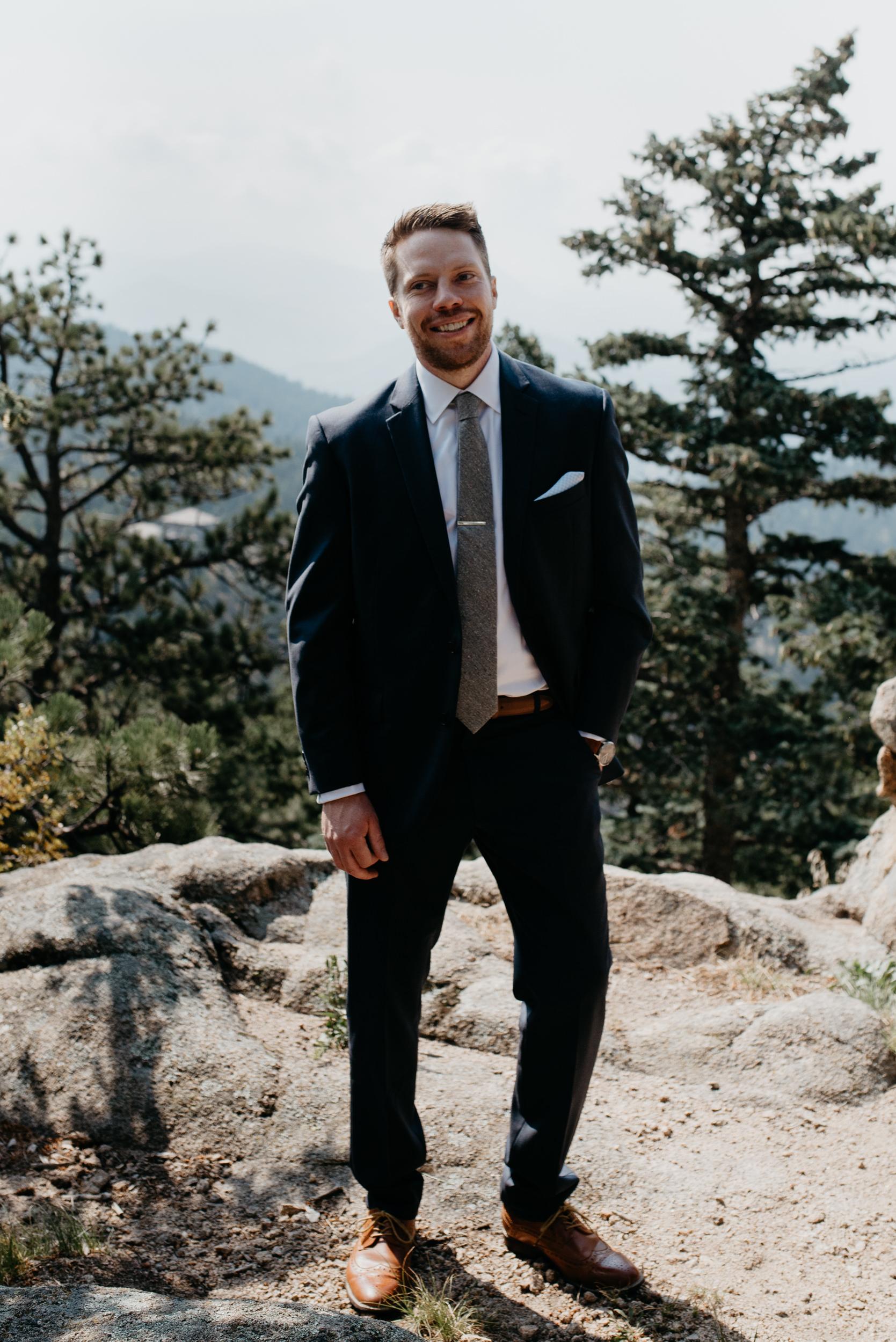 Groom portraits at Lost Gulch elopement. Boulder elopement photographer.