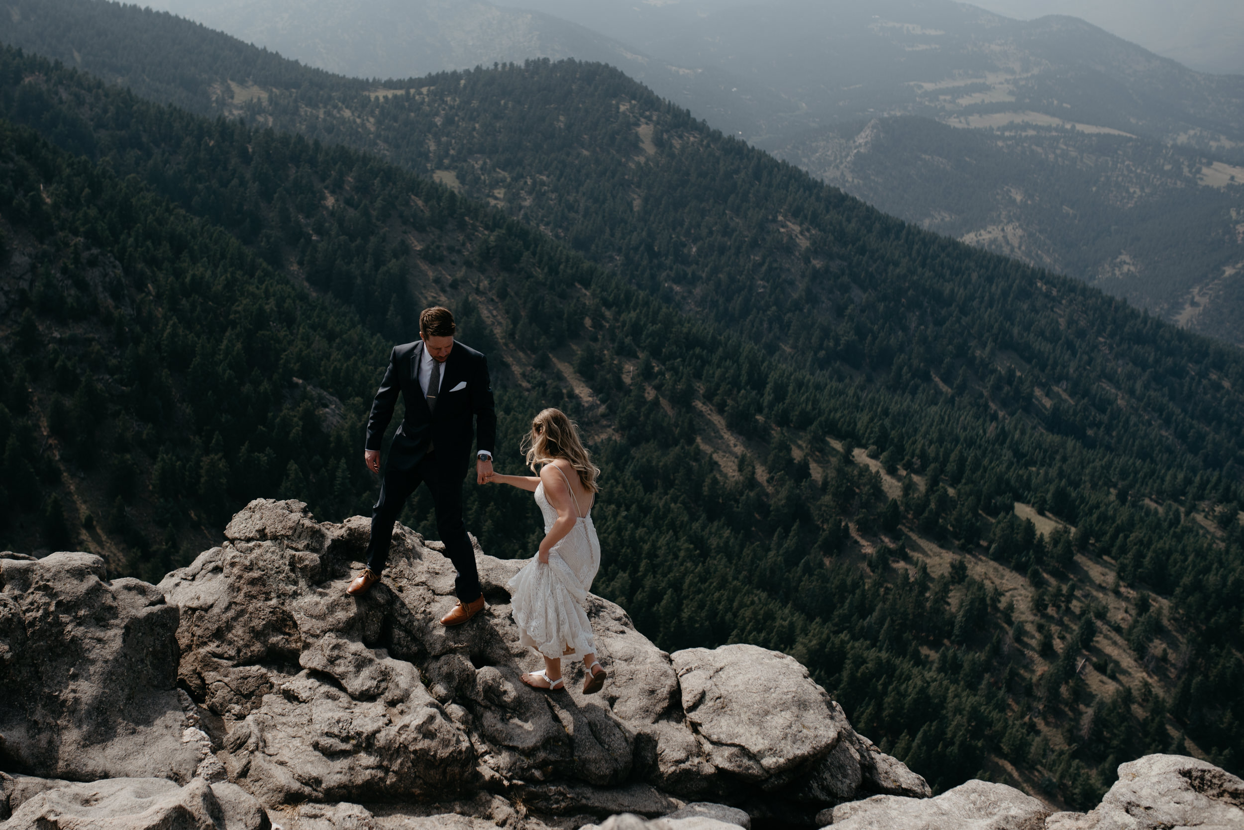 Colorado mountain elopement and wedding photographer. Mountaintop elopement photos in Colorado.