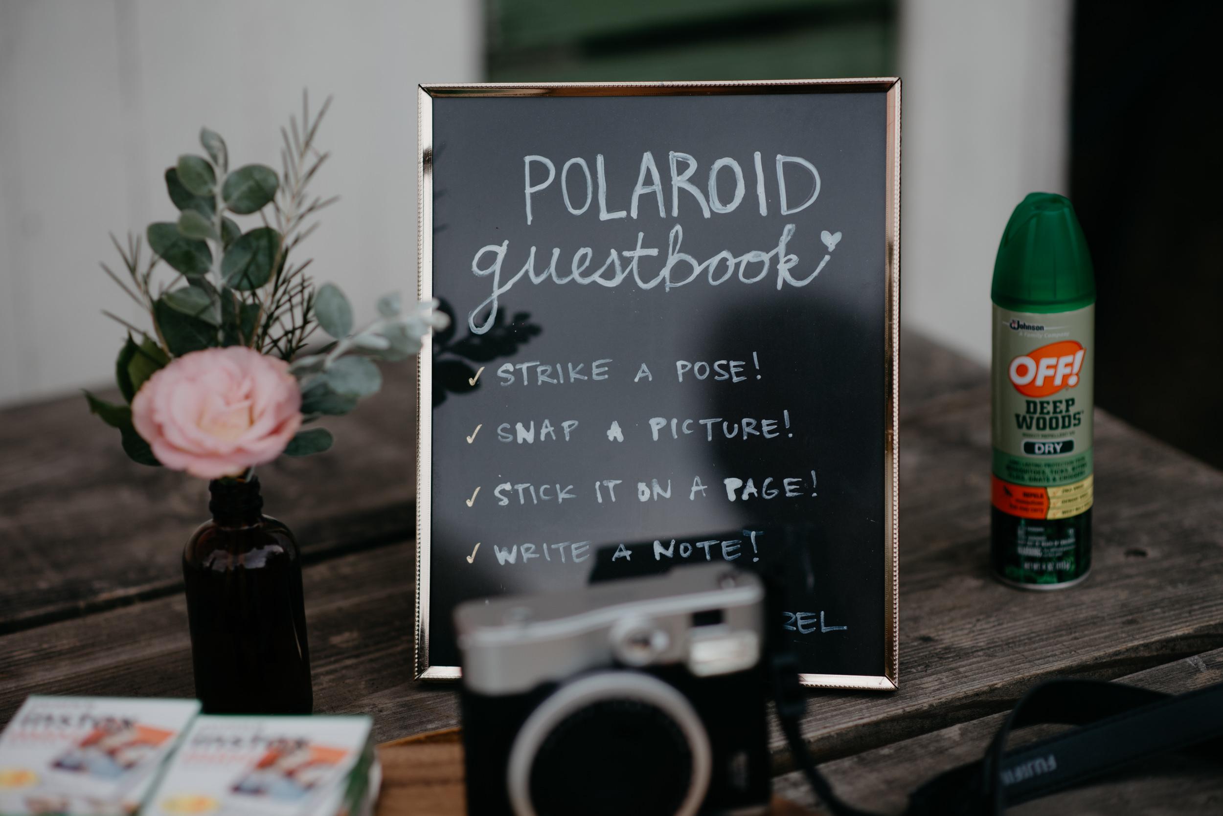 Polaroid guest book at Colorado wedding. Boulder wedding and elopement photographer. Wedding guestbook inspiration.