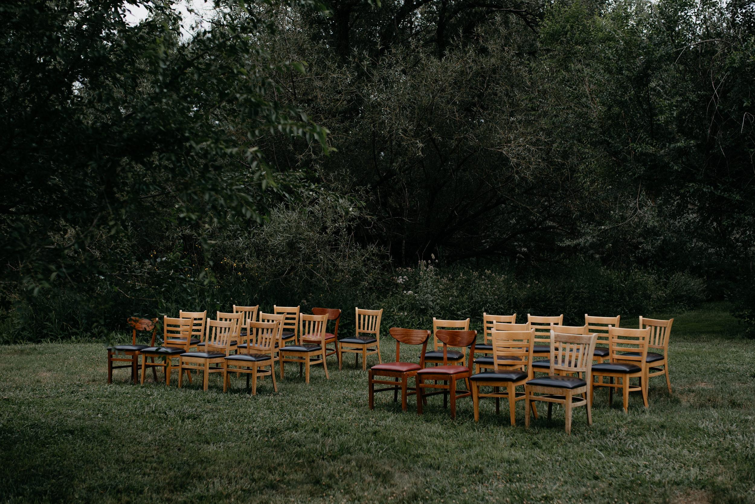 Ceremony site at Three Leaf Farm wedding. Boulder, Colorado wedding and elopement photographer.