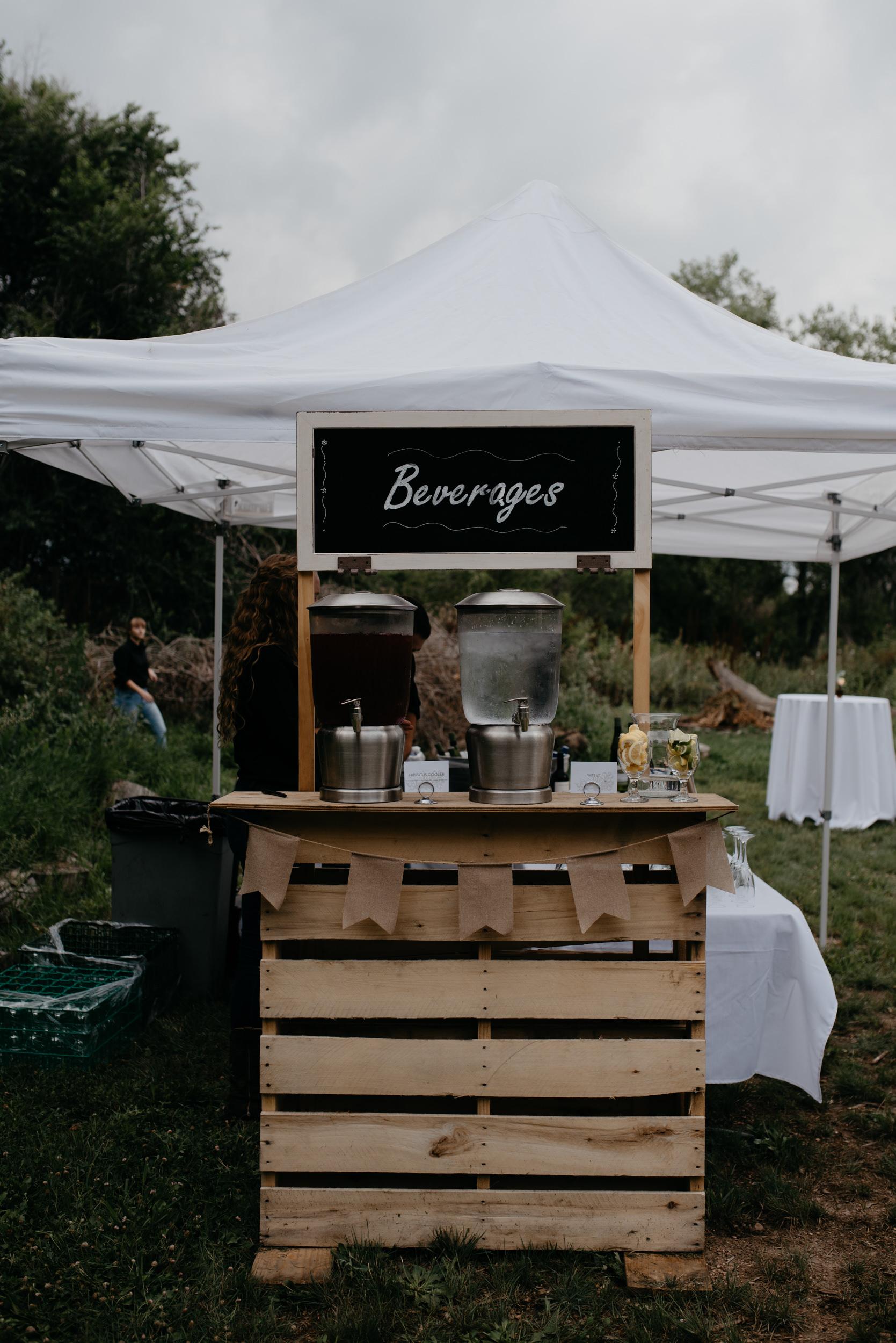 Photo of bar cart at Three Leaf Farm wedding in Boulder, Colorado. Colorado wedding and elopement photographer.