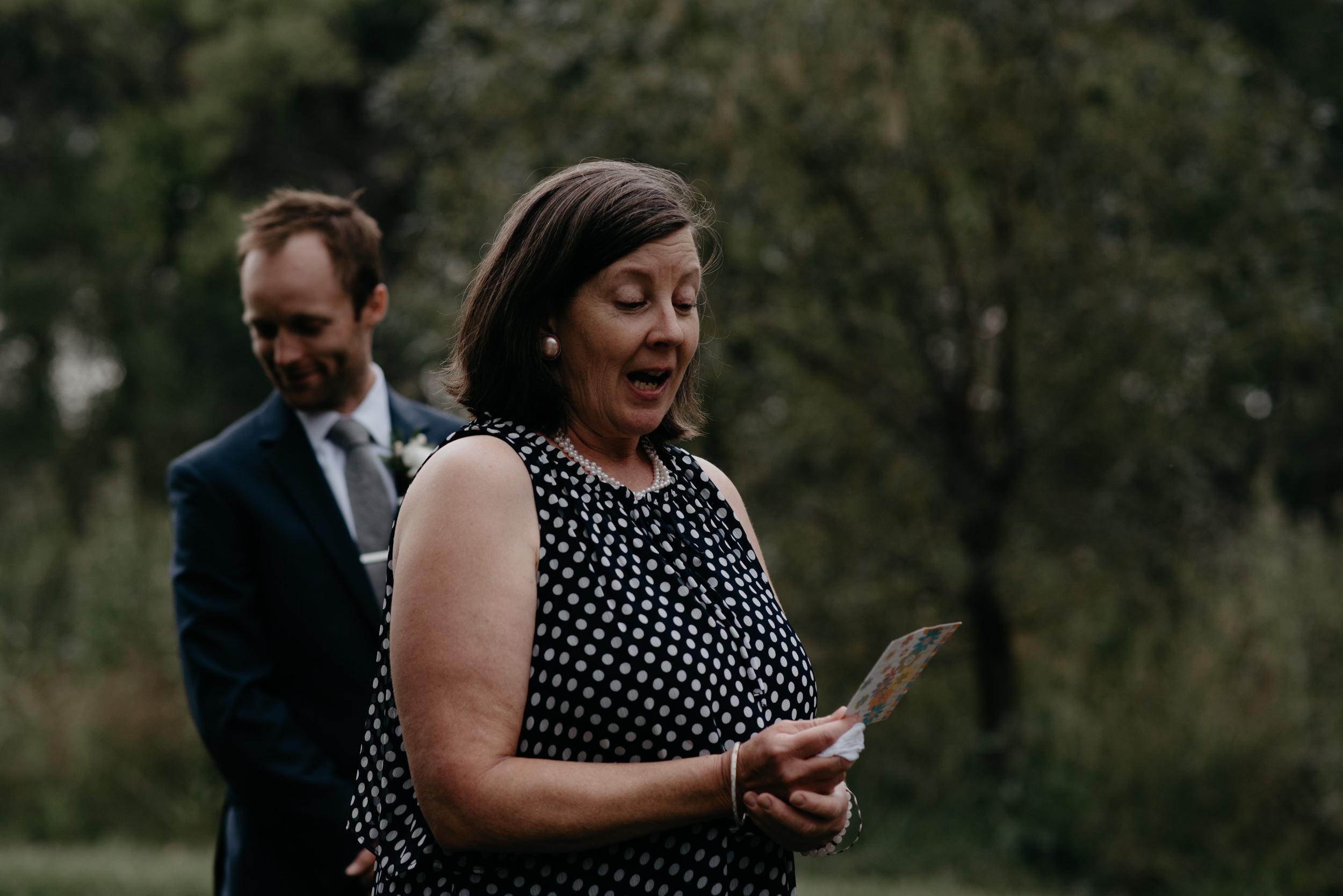 Ceremony at Three Leaf Farm wedding in Boulder, Colorado.
