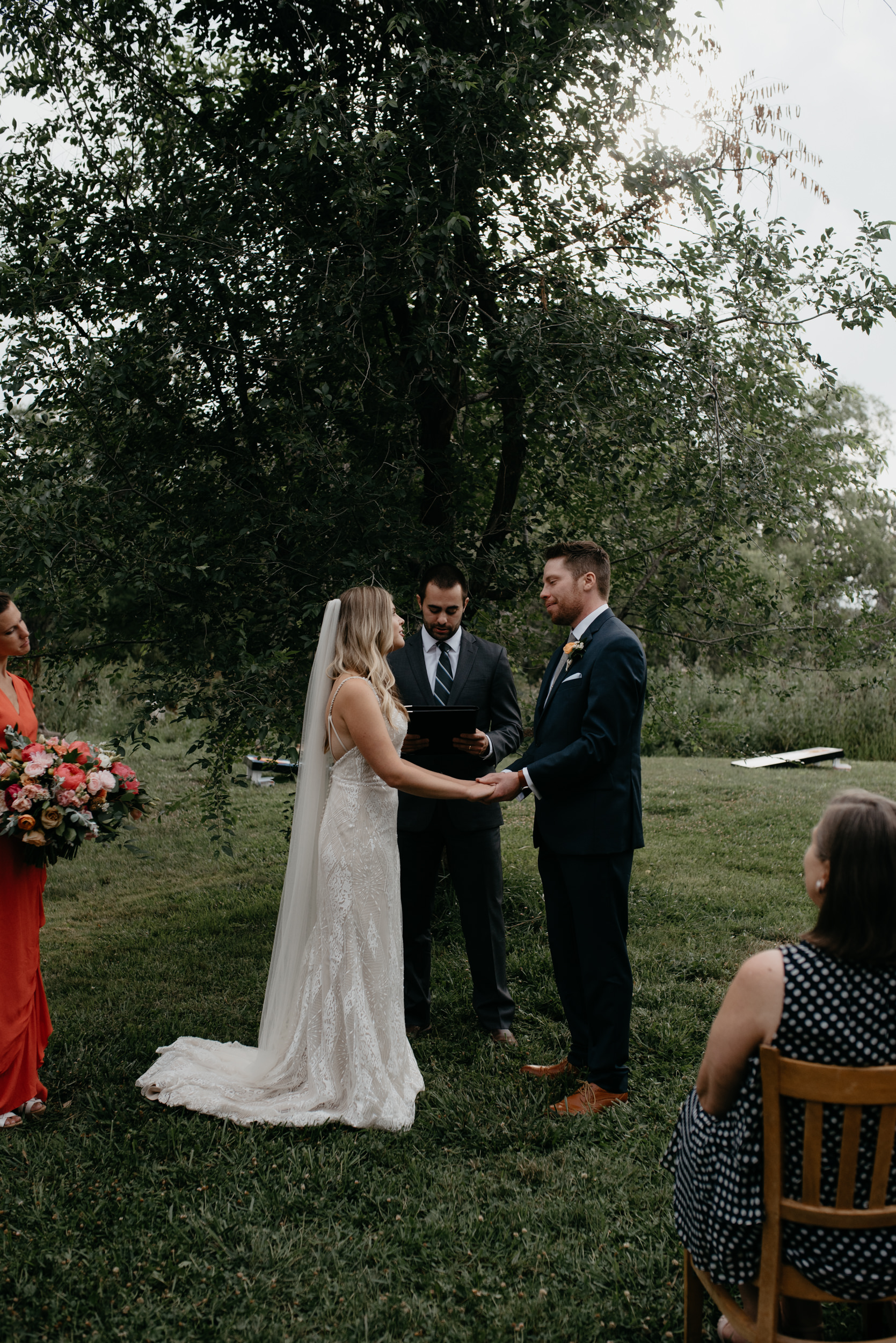 Three Leaf Farm wedding ceremony in Boulder, Colorado. Colorado intimate wedding and elopement photographer. Boulder rustic farm wedding venue.