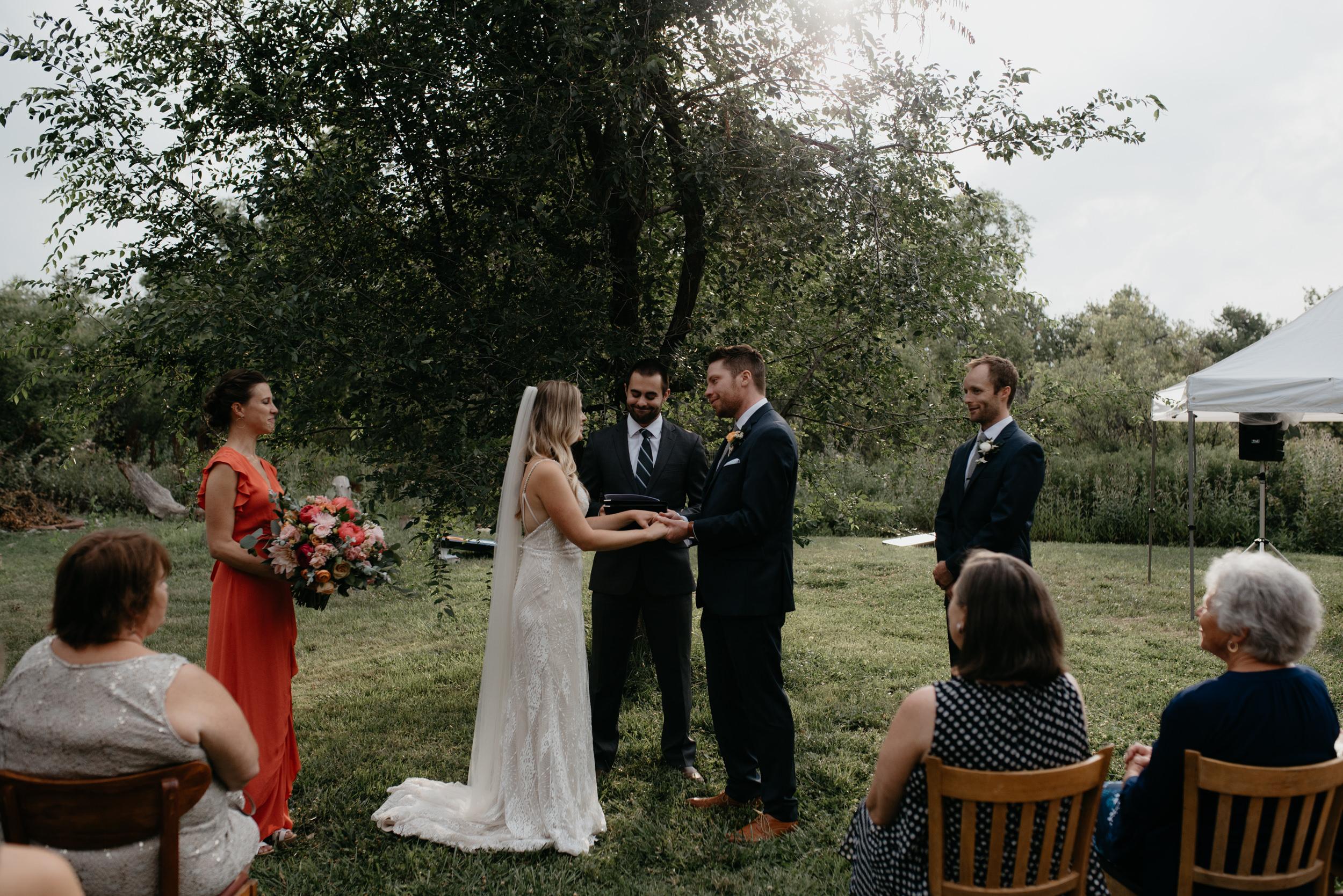Three Leaf Farm intimate wedding in Boulder, Colorado.