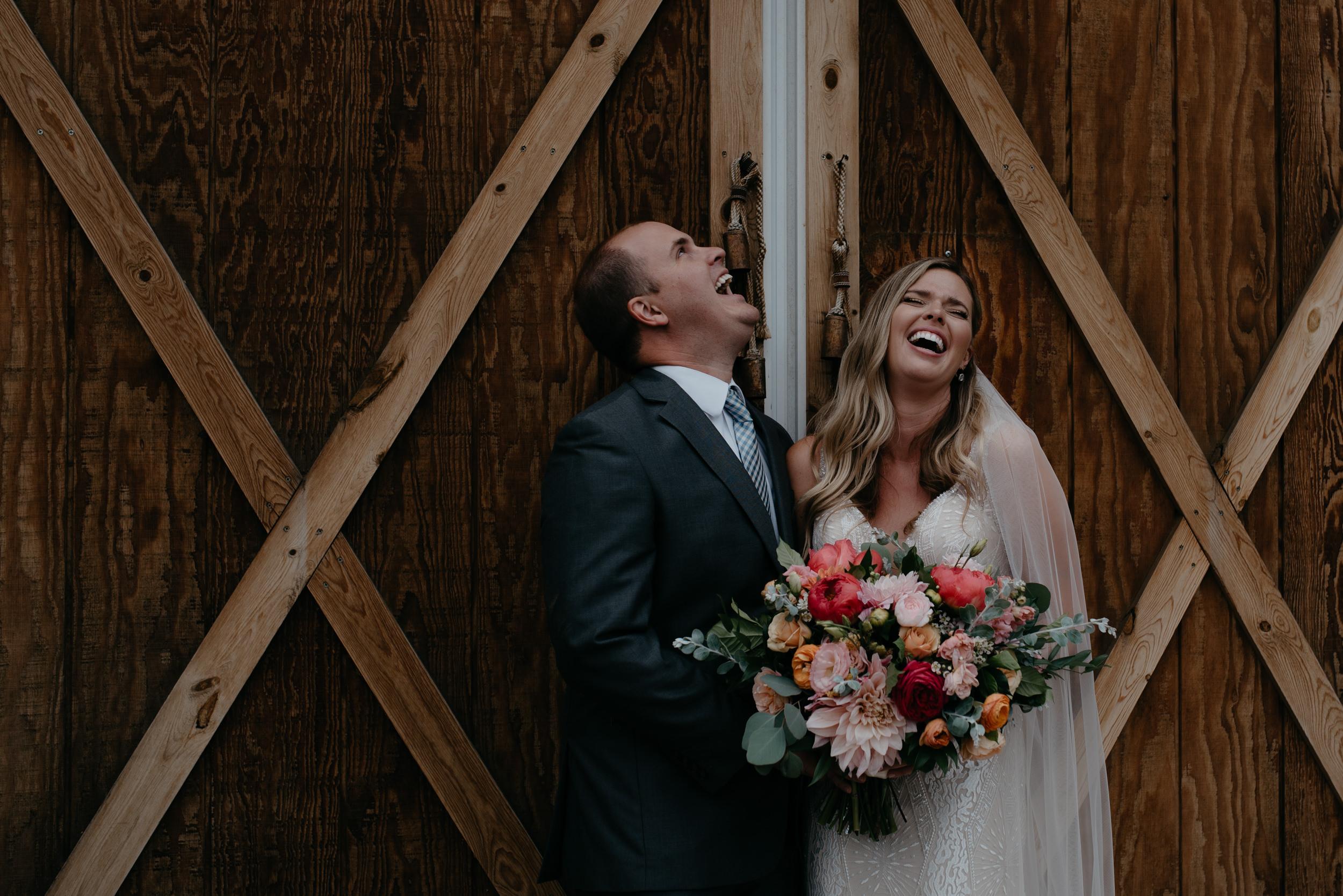 Bride and brother at Boulder, Colorado wedding at Three Leaf Farm.