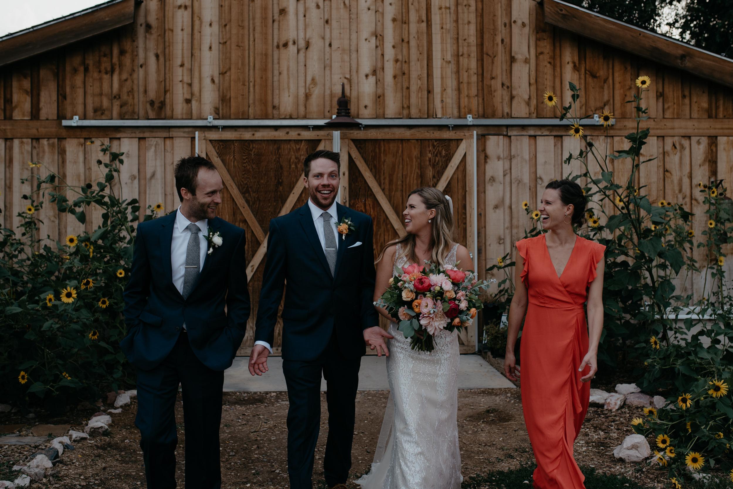 Wedding party photos at Boulder wedding. Colorado wedding photographer.