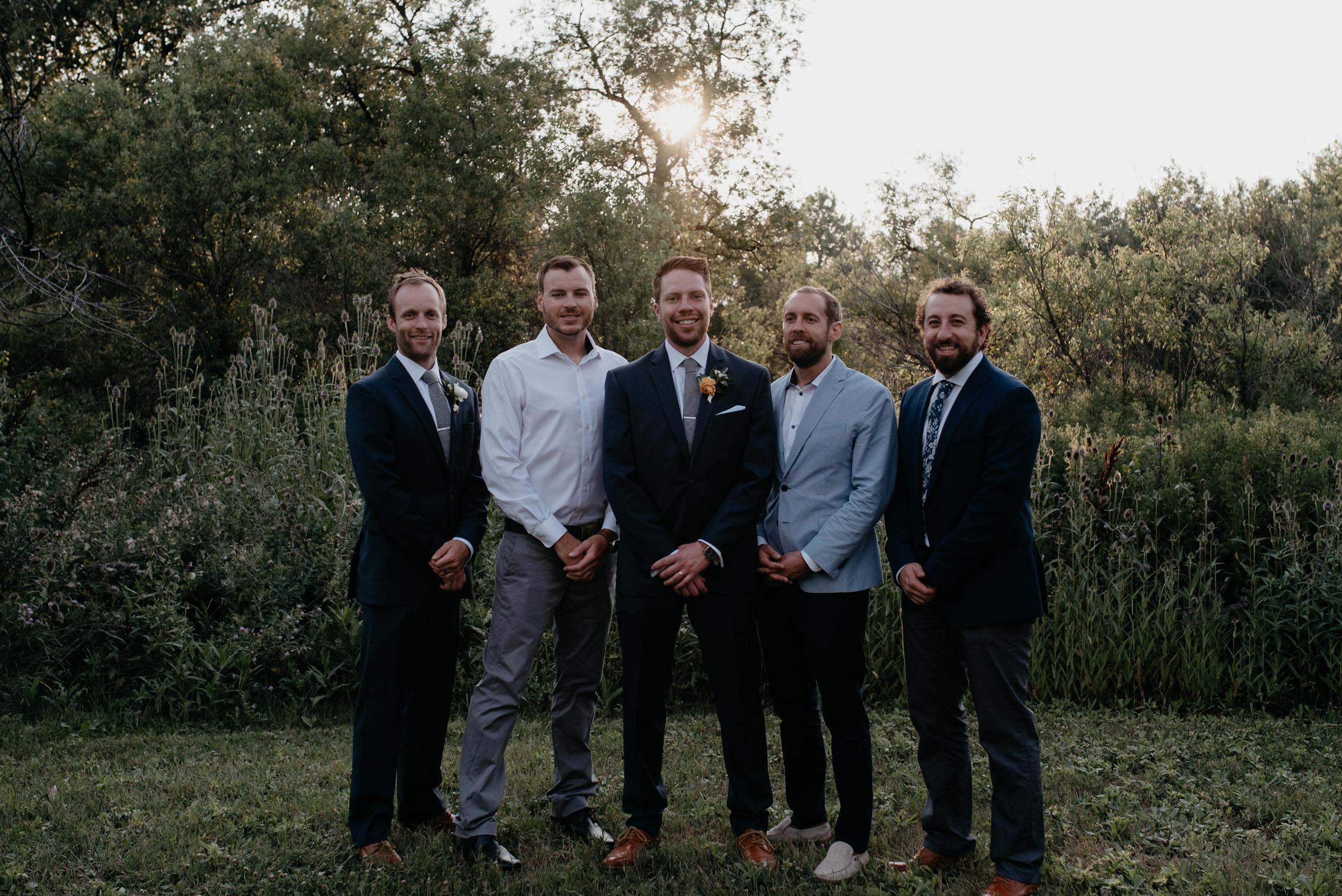 Groomsmen photo inspiration. Denver, Colorado wedding photographer. Colorado adventure elopement photographer.
