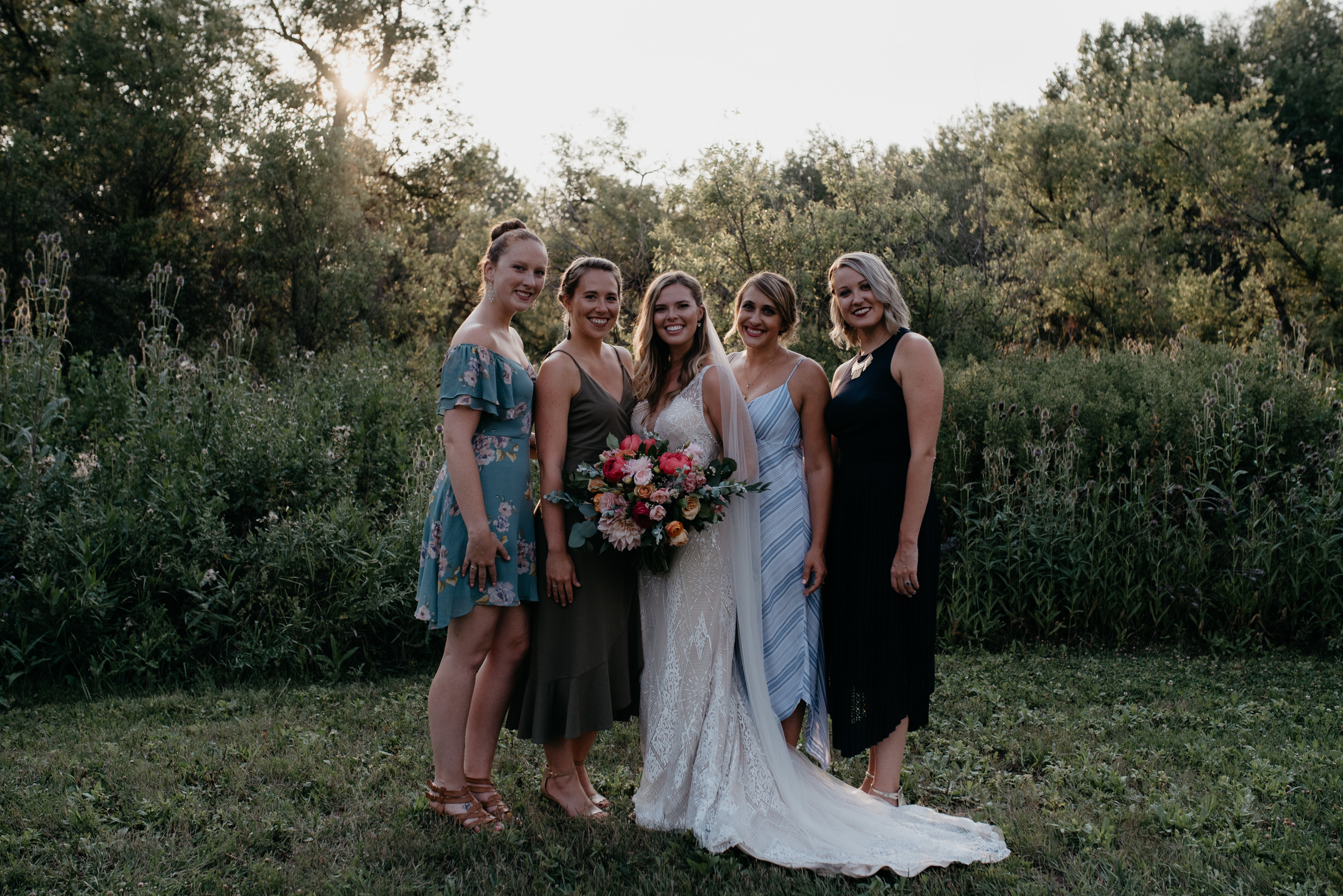 Boulder, Colorado wedding photography. Bridesmaids photos at Three Leaf Farm wedding.