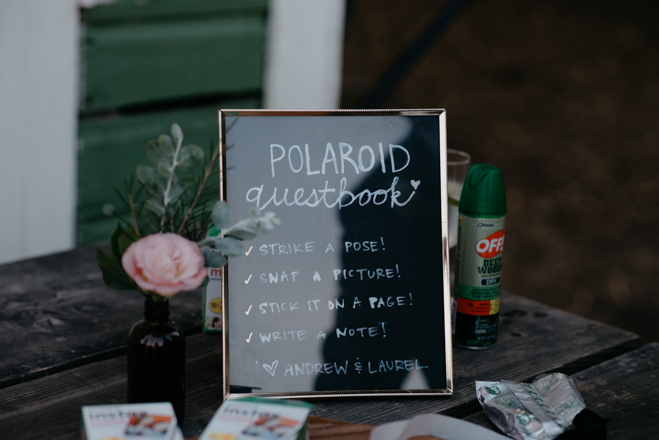 Polaroid guest book. Boulder, Colorado wedding at Three Leaf Farm. Denver wedding photographer. Colorado mountain weddings and elopements. Colorado affordable wedding photographer.