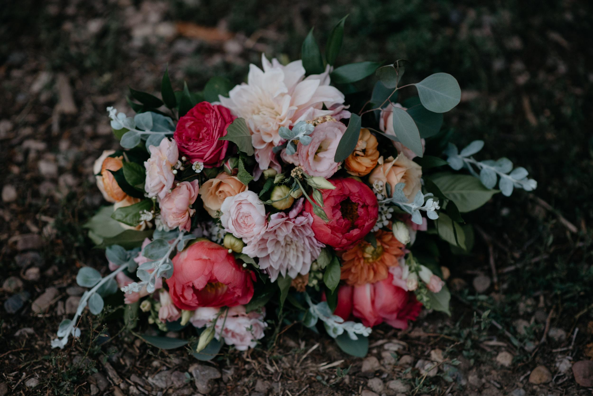 Bride's bouquet. Bridal detail photos. Denver, Colorado wedding and elopement photographer.